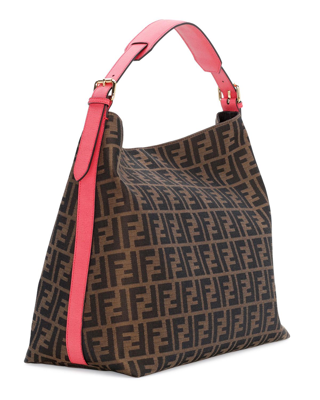 Lyst Fendi Zucca Print Large Canvas Hobo Bag In Brown