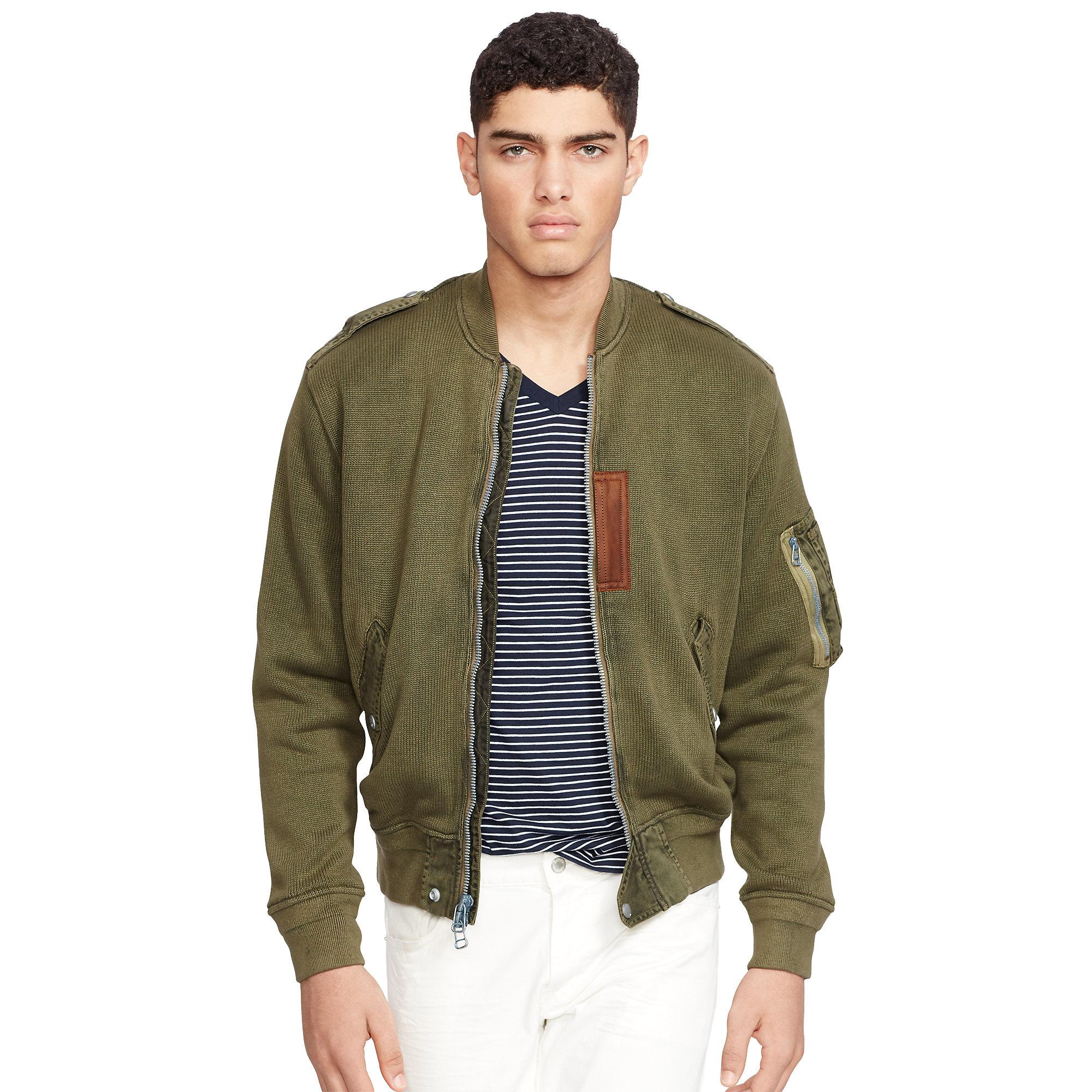 101653319 Polo Ralph Lauren Cotton Sweater Jacket in Green for Men - Lyst