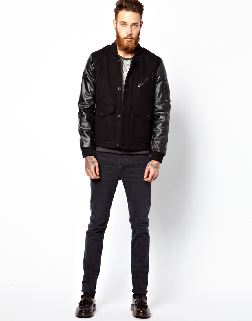 Asos Asos Wool Jacket with Faux Leather Sleeves in Black for Men