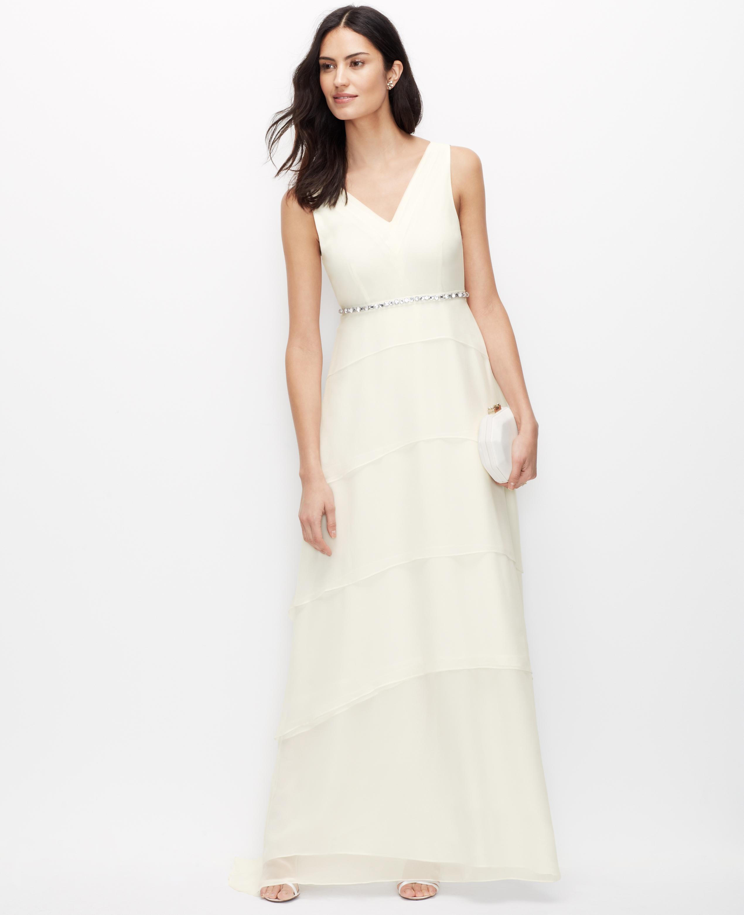 Lyst ann taylor tiered silk georgette wedding dress in white for Silk georgette wedding dress