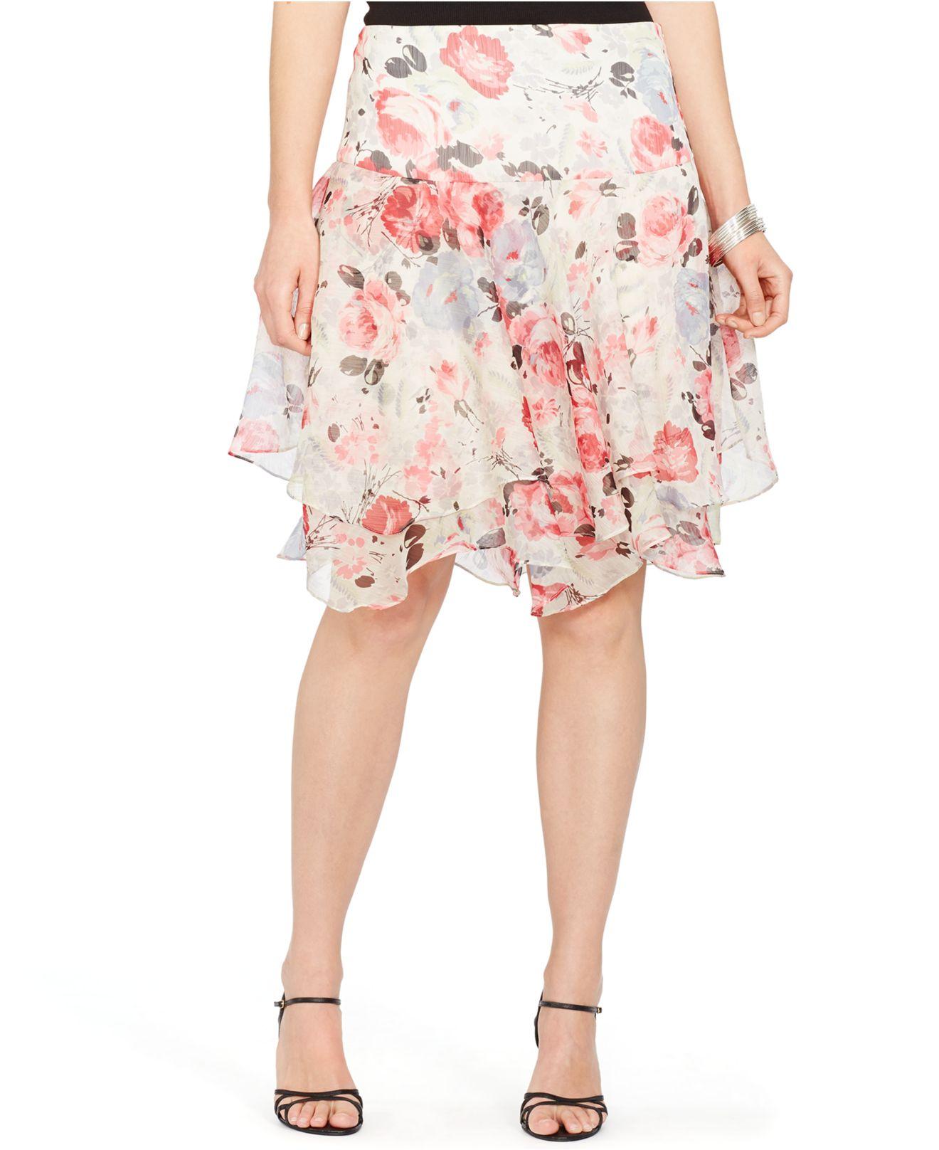 02abc33dcefcf Lyst - Lauren by Ralph Lauren Plus Size Floral-Print Tiered Skirt