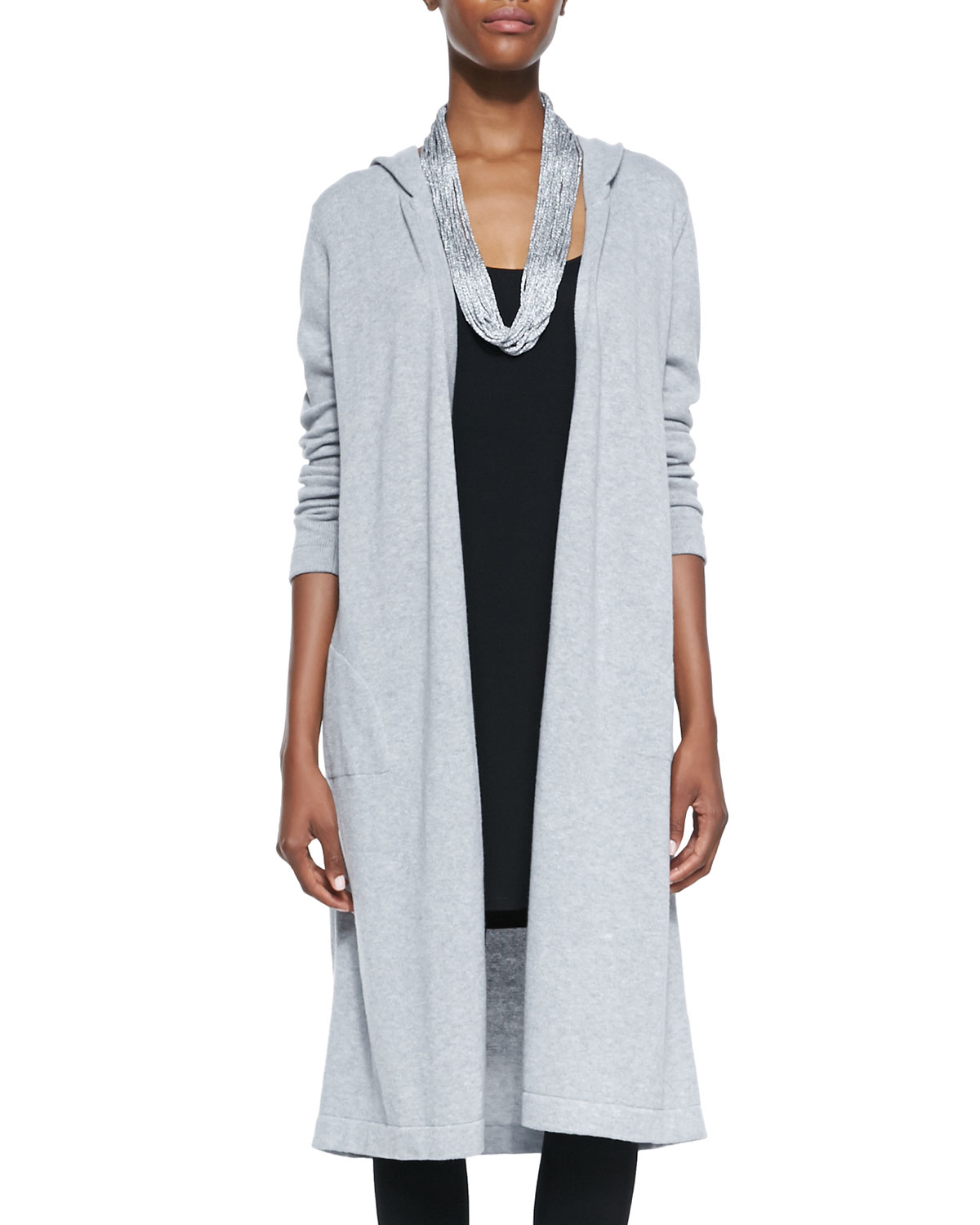 Eileen fisher Hooded Long Organic Cotton Cardigan in Blue   Lyst
