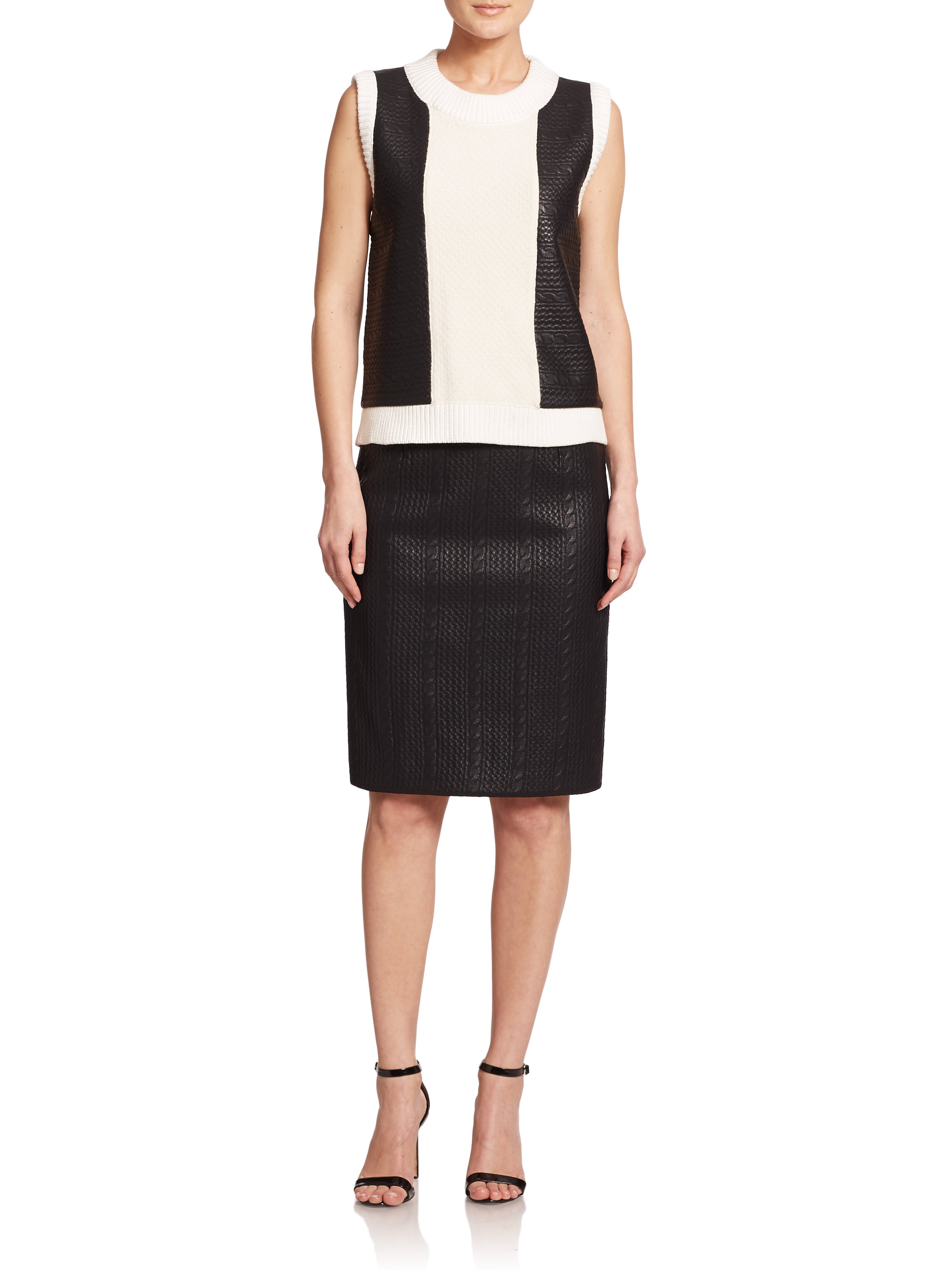Raoul Knit Cable-pattern Skirt in Black Lyst