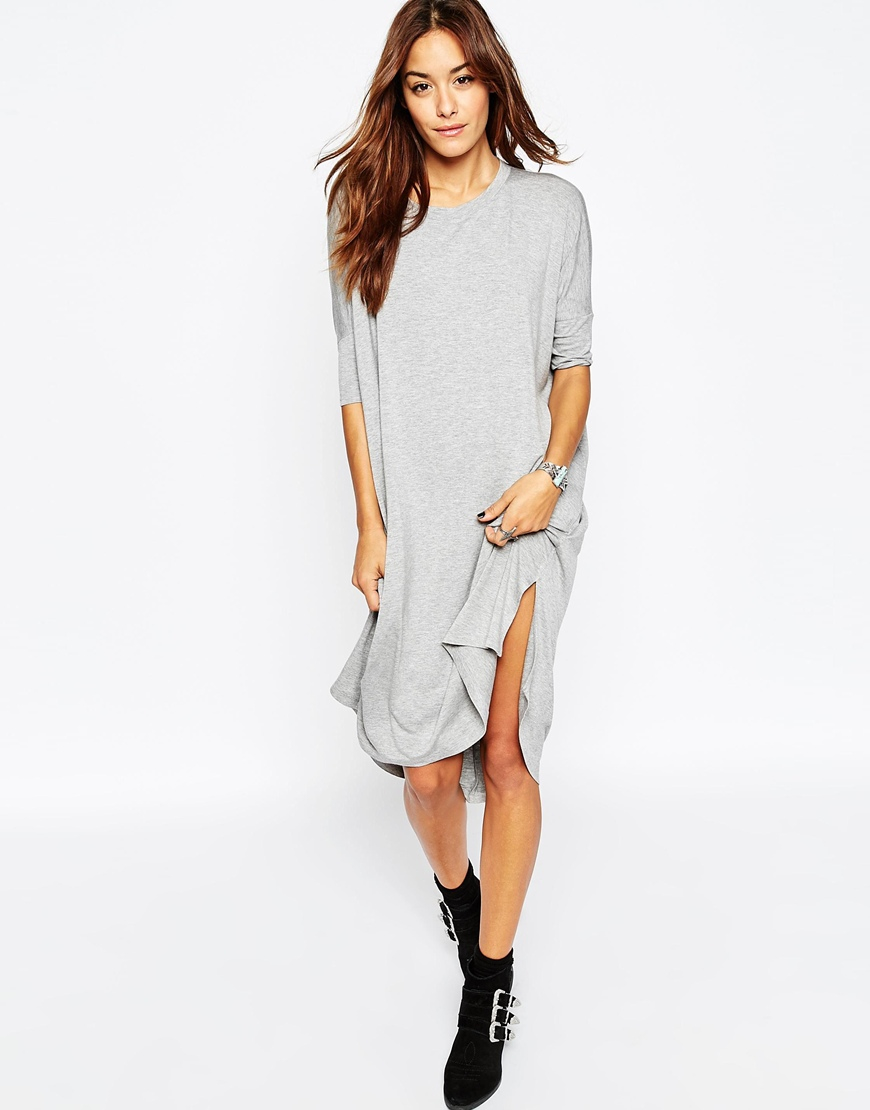 Asos Oversize T Shirt Dress With Curved Hem In Gray Lyst