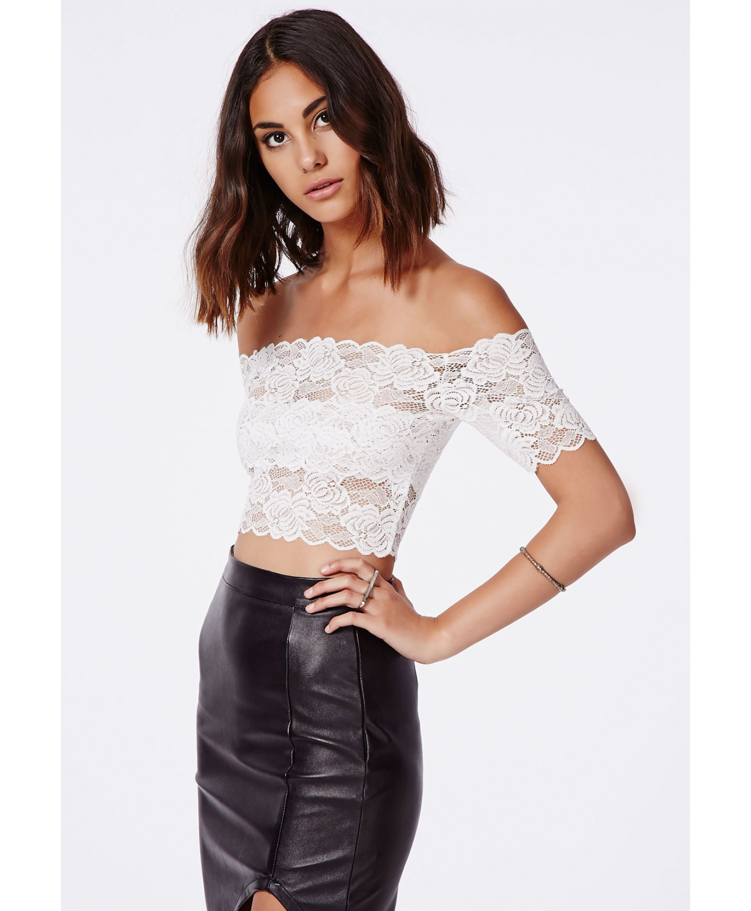 ae747f52f2d585 Lyst - Missguided Telimesa White Bardot Lace Crop Top in White
