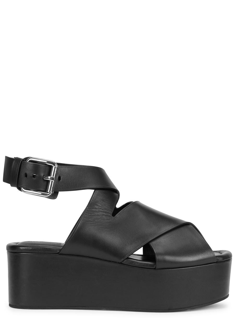 0d431adaaf9 Alexander Wang Rudy Black Leather Flatform Sandals in Black - Lyst