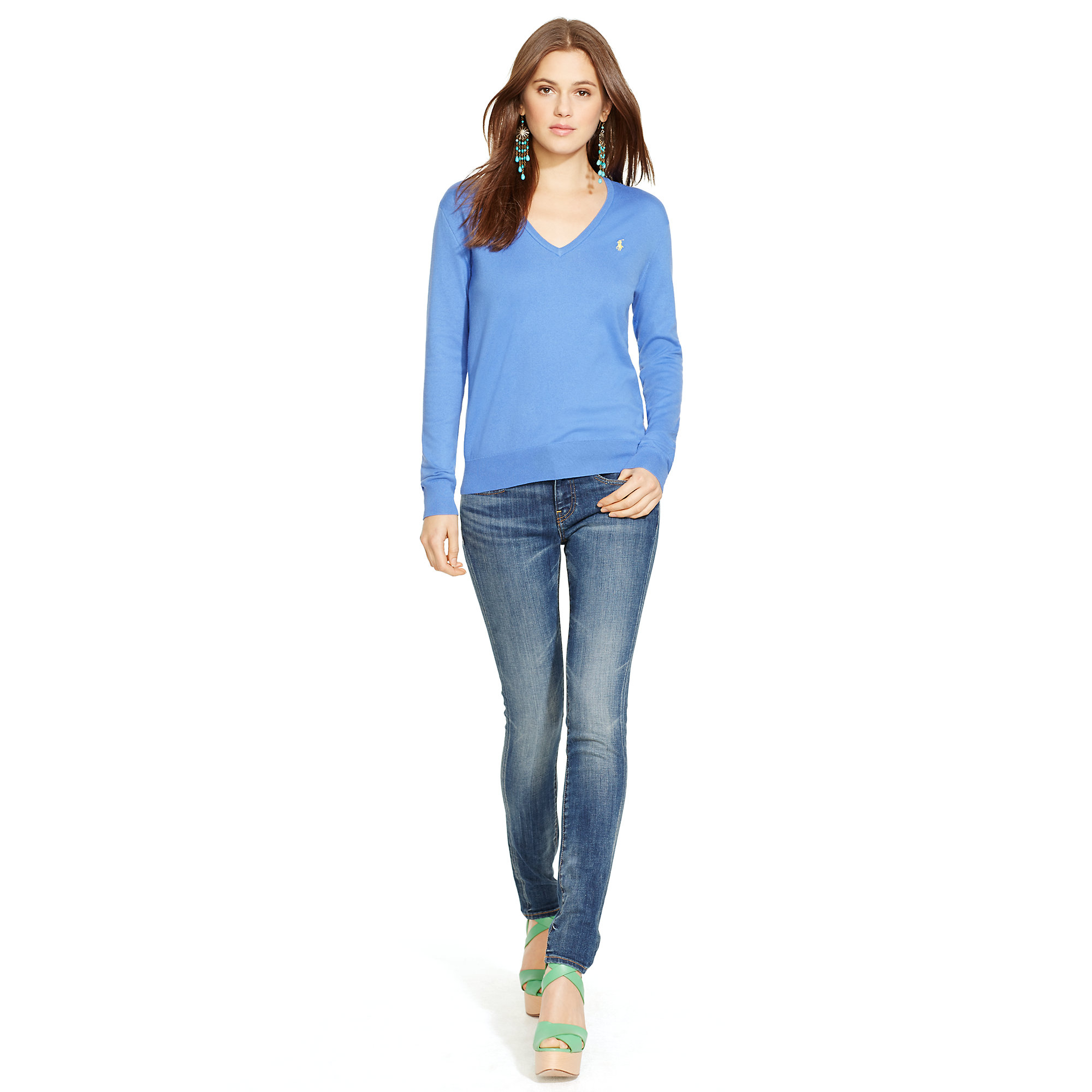 Lyst - Polo Ralph Lauren Cotton-Blend V-Neck Sweater in Blue 8f8be3468