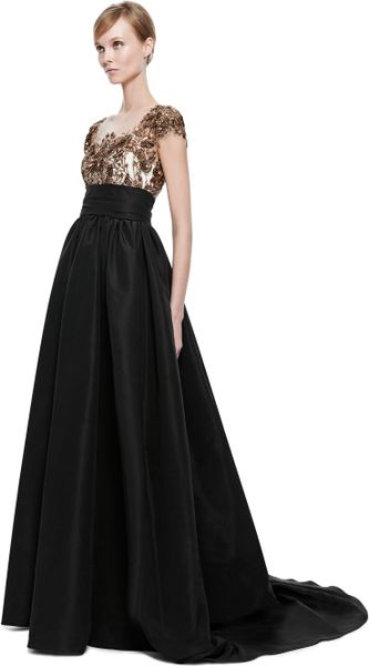 Marchesa 3d Floral Ribbon Embroidered Ball Gown In Black