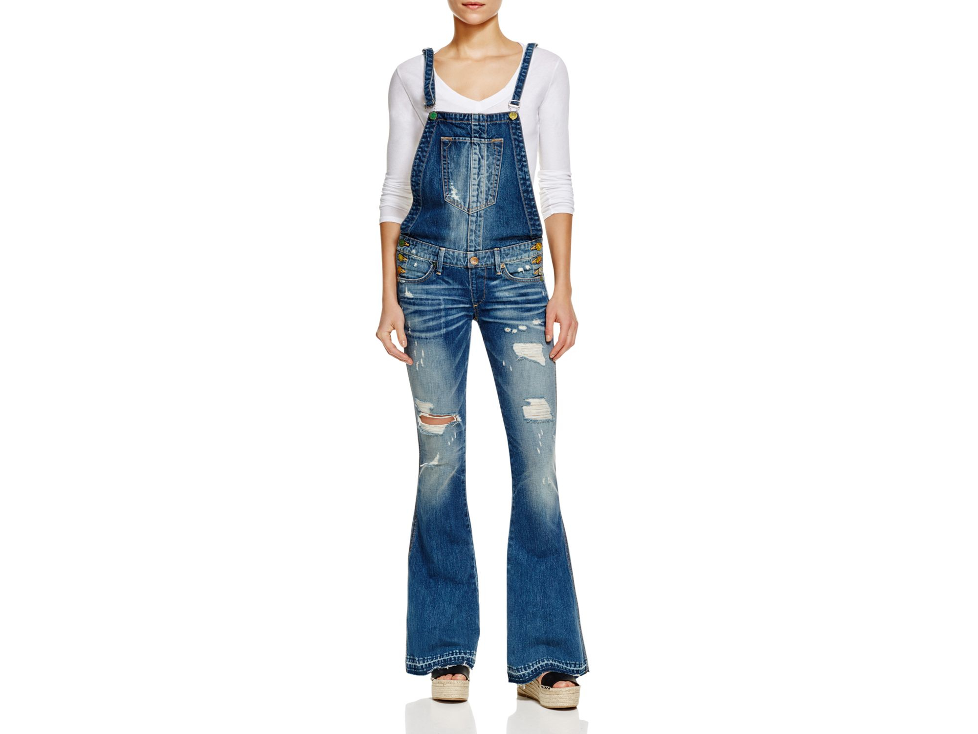 12c0a9cf5a83 Lyst - True Religion Karlie Flare Overalls In Vintage in Blue