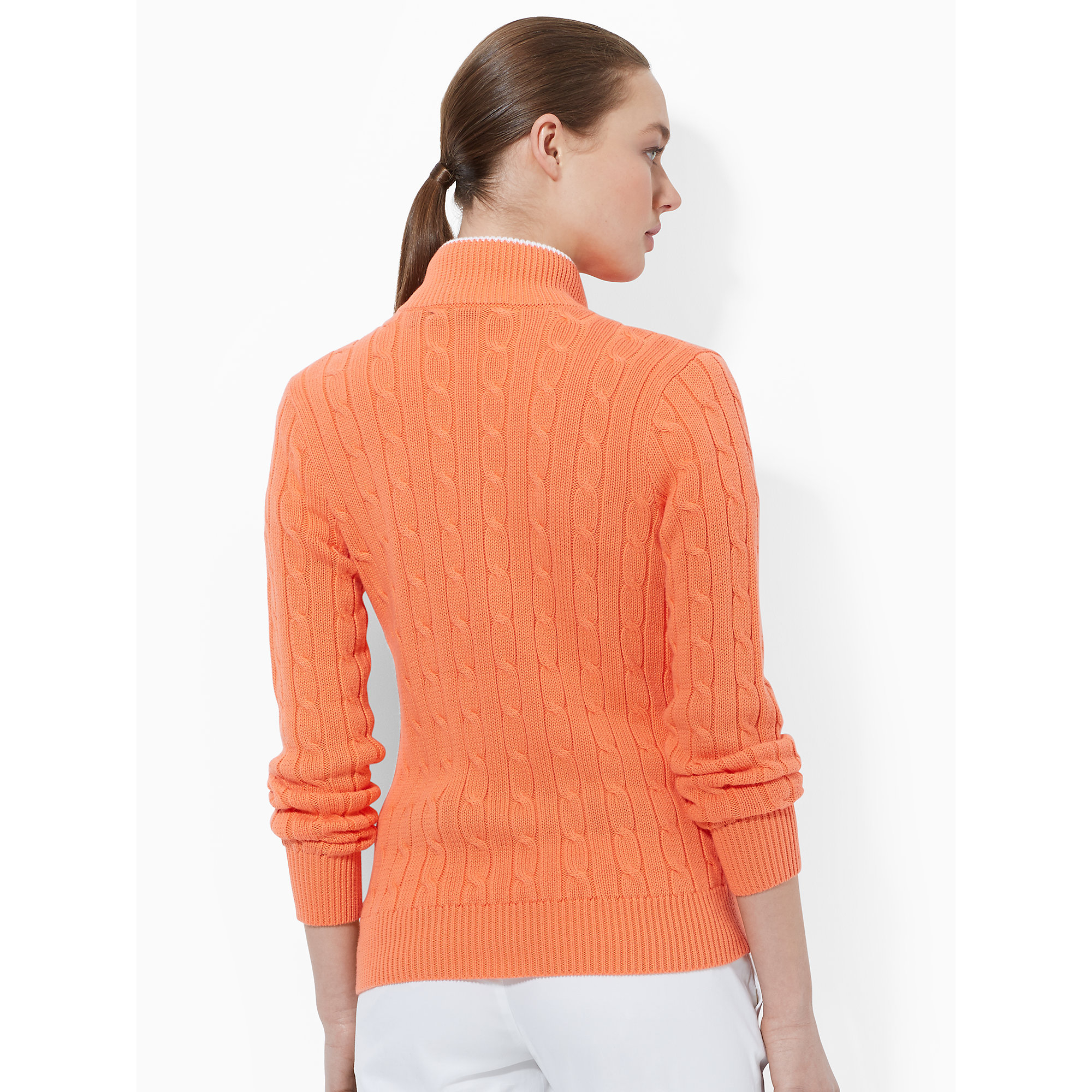 Ralph lauren golf Cable-knit Zip-up Sweater in Orange | Lyst
