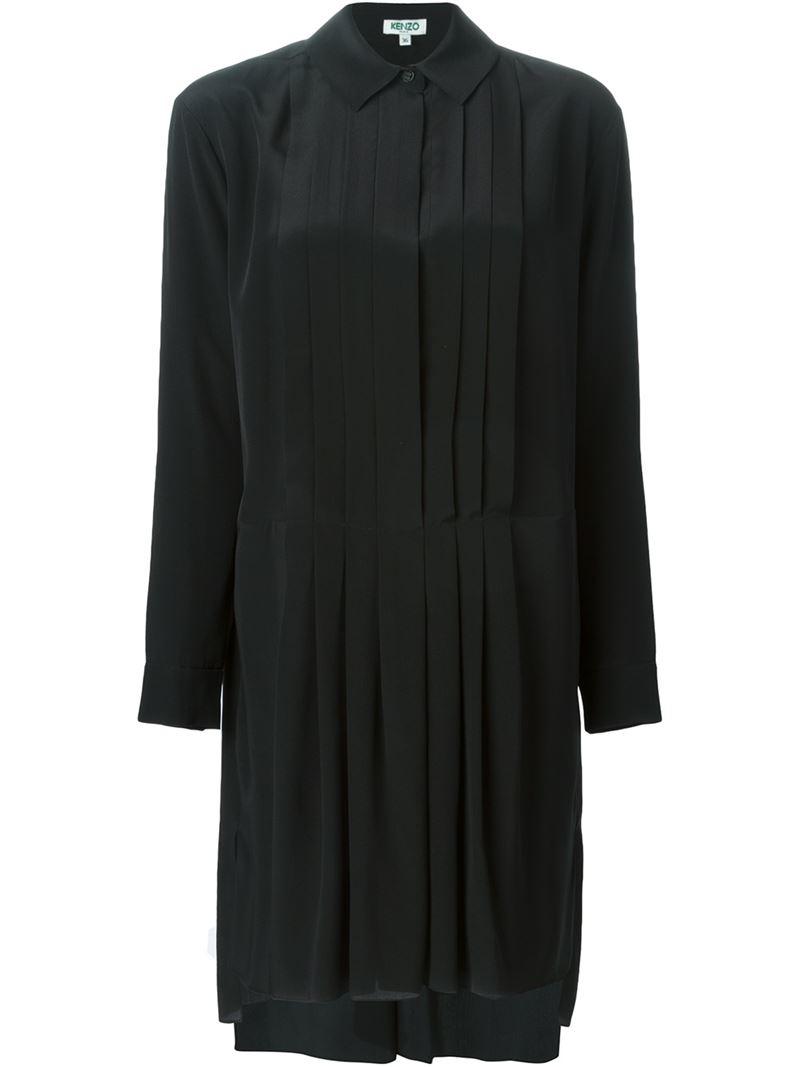 Kenzo pleated shirt dress in black lyst for Black pleated dress shirt