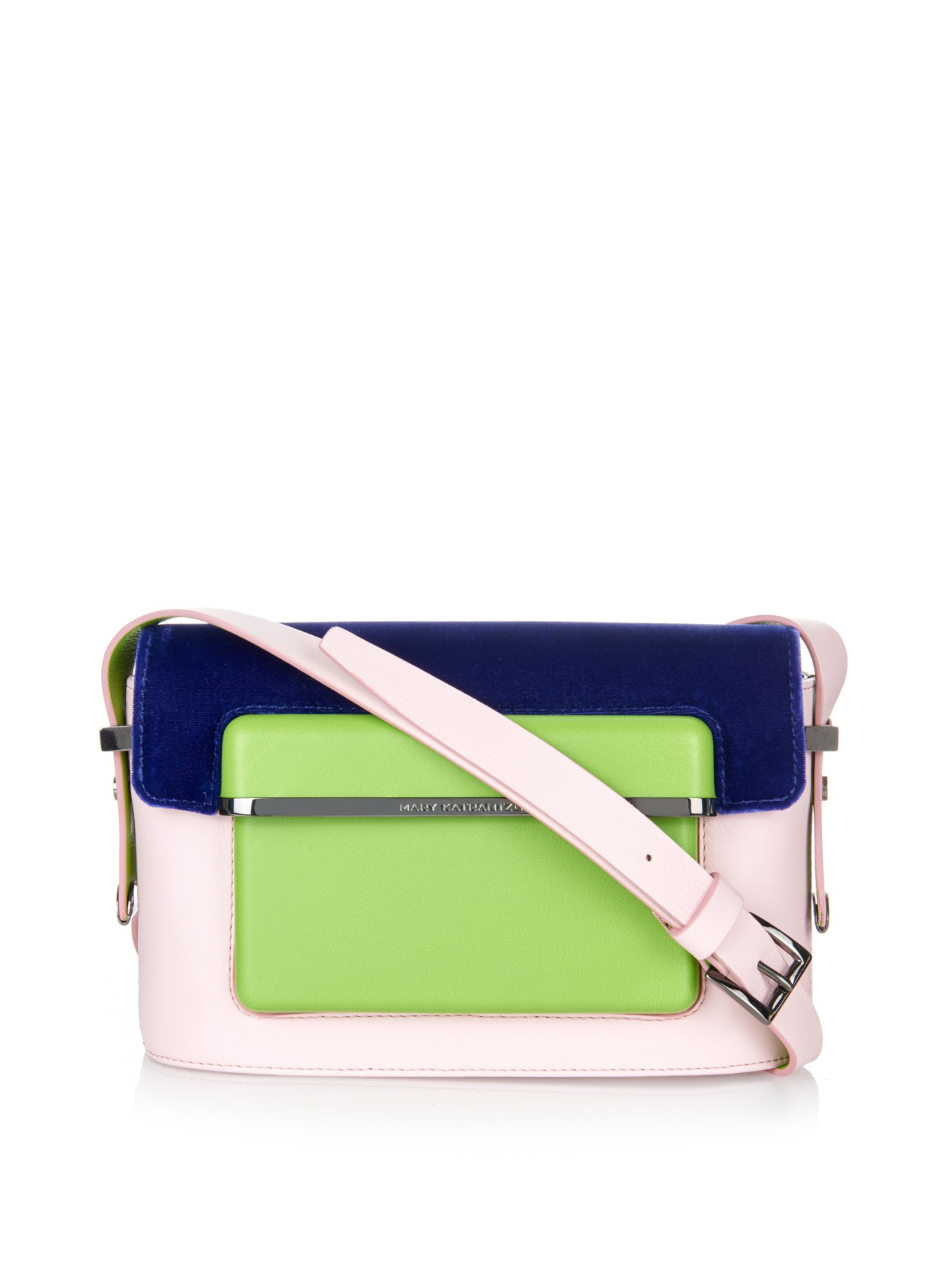 fcce62bf8f4 Mary Katrantzou Mvk Small Leather And Velvet Cross-body Bag in Pink ...