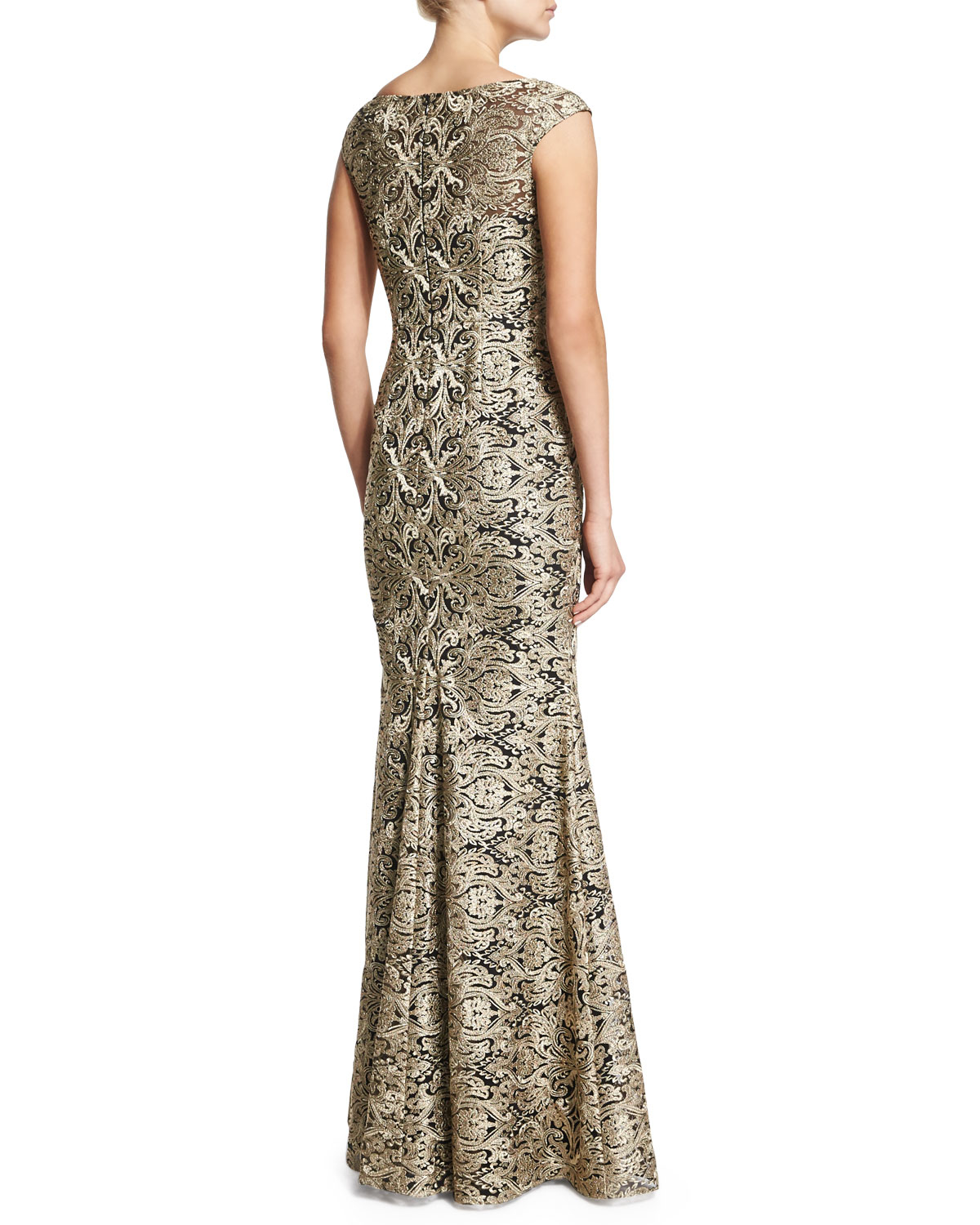 David Meister Metallic Lace Gown
