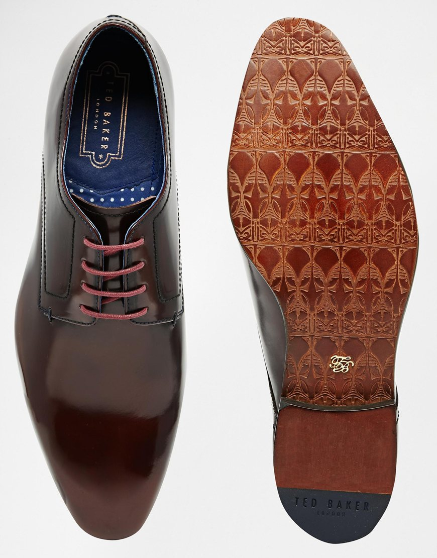 2b2c330eec0d8 Lyst - Ted Baker Billay Leather Derby Shoes in Red for Men