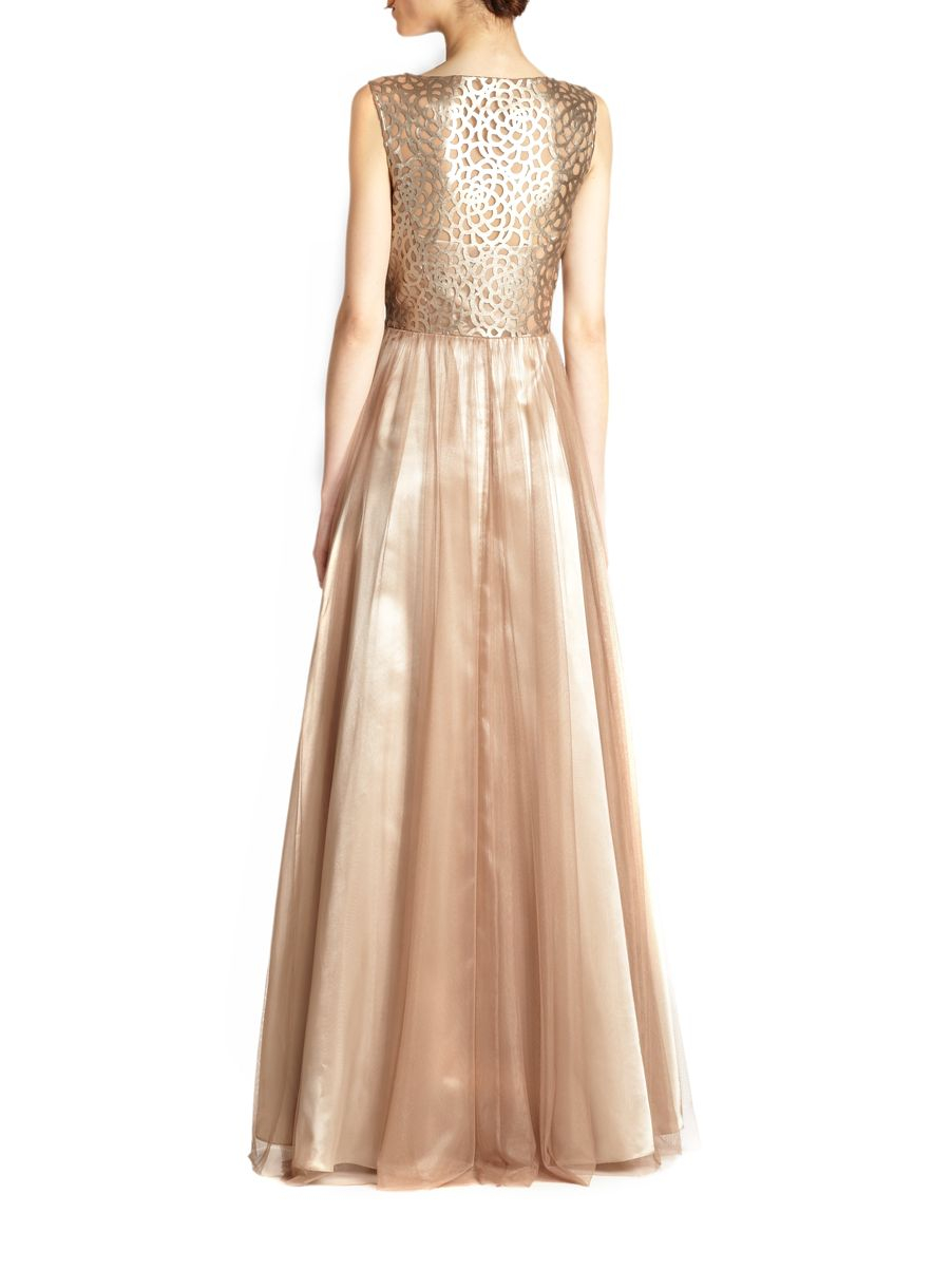 Lyst Aidan Mattox Faux Leather Lace Bodice Ball Gown In