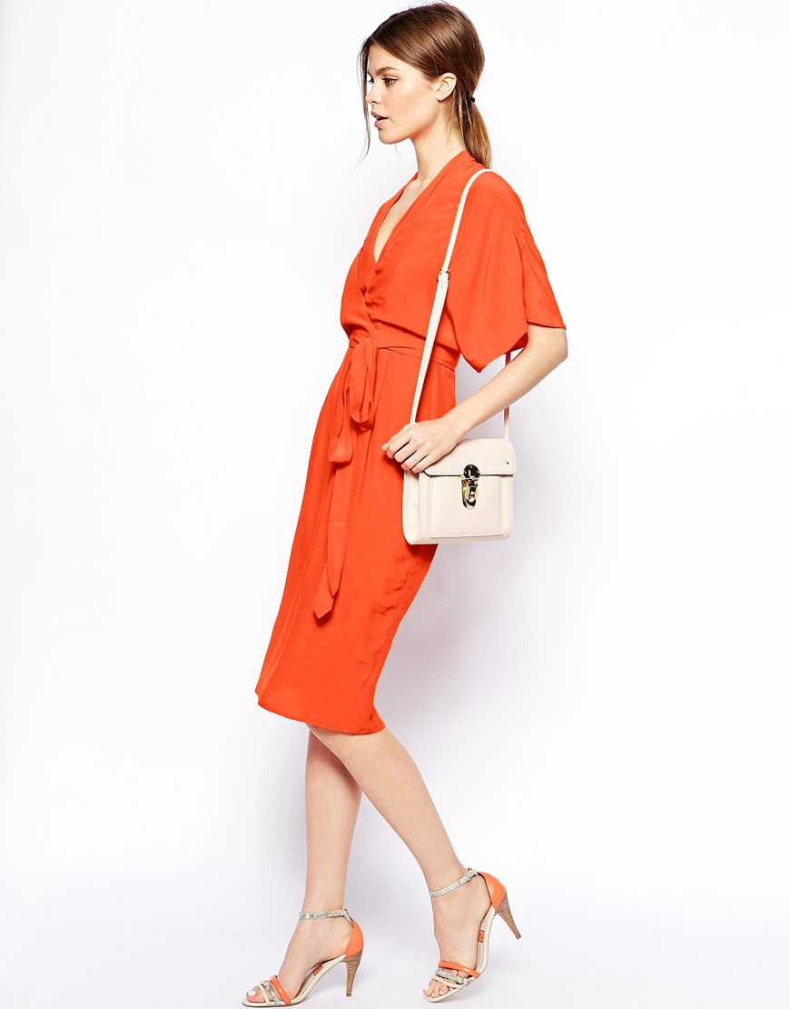 Asos Pencil Dress With Kimono Wrap In Orange Lyst
