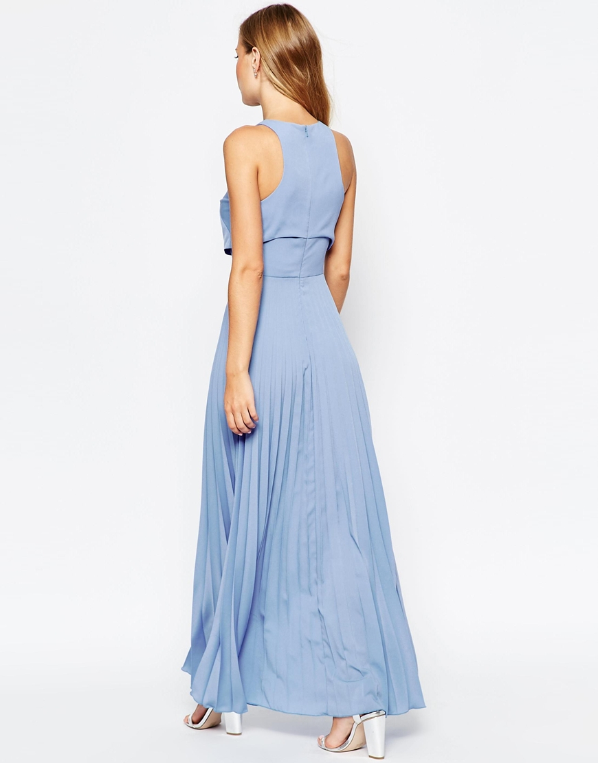 Lyst - Asos Pleated Crop Top Maxi Dress in Blue