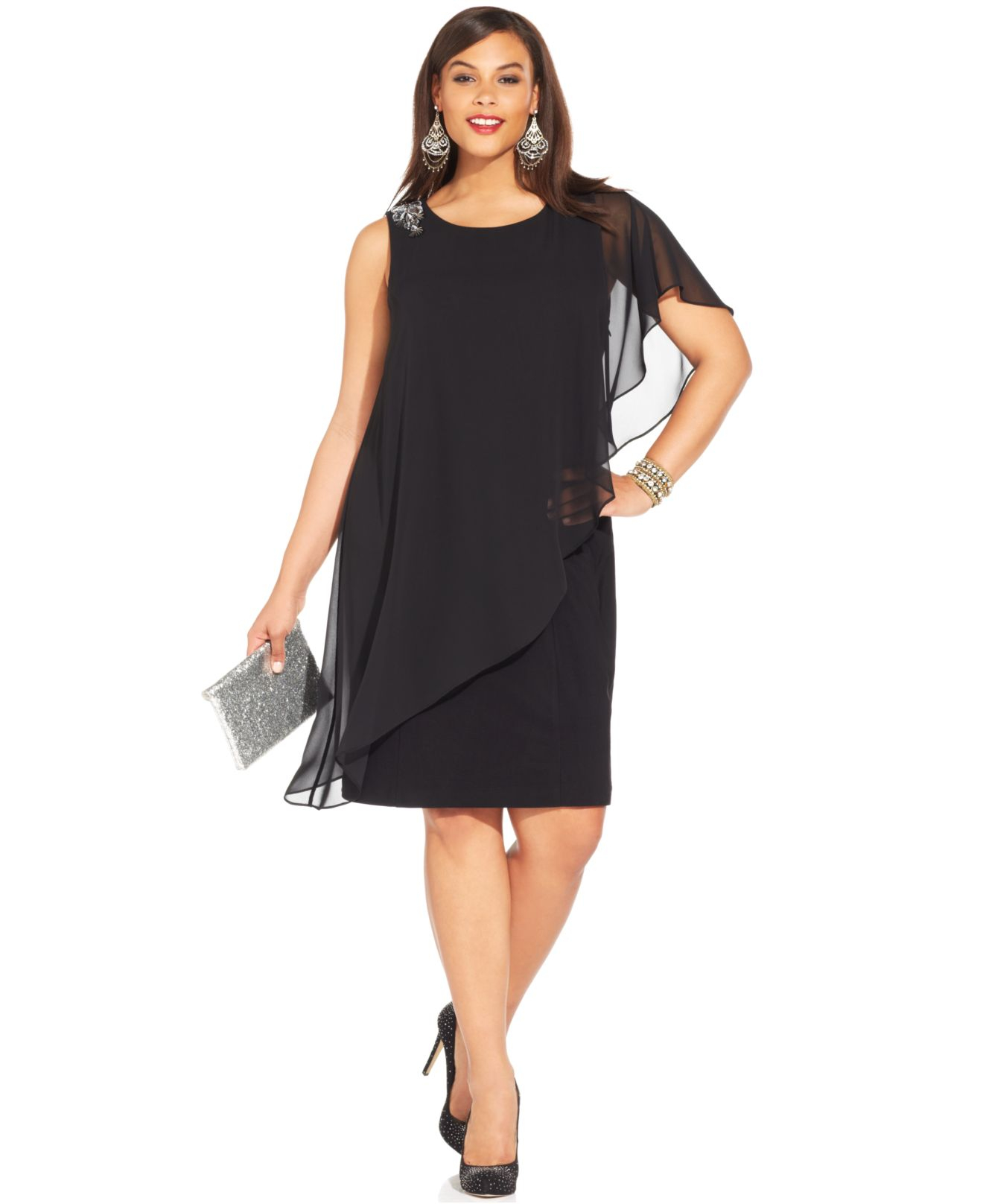 Betsy &amp- adam Plus Size One-Shoulder Chiffon Overlay Dress in Black ...
