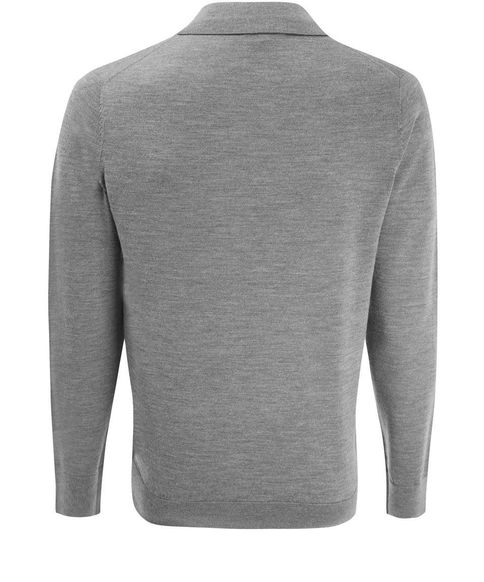 Lyst a p c grey long sleeve wool polo shirt in gray for men for Long sleeve wool polo shirts