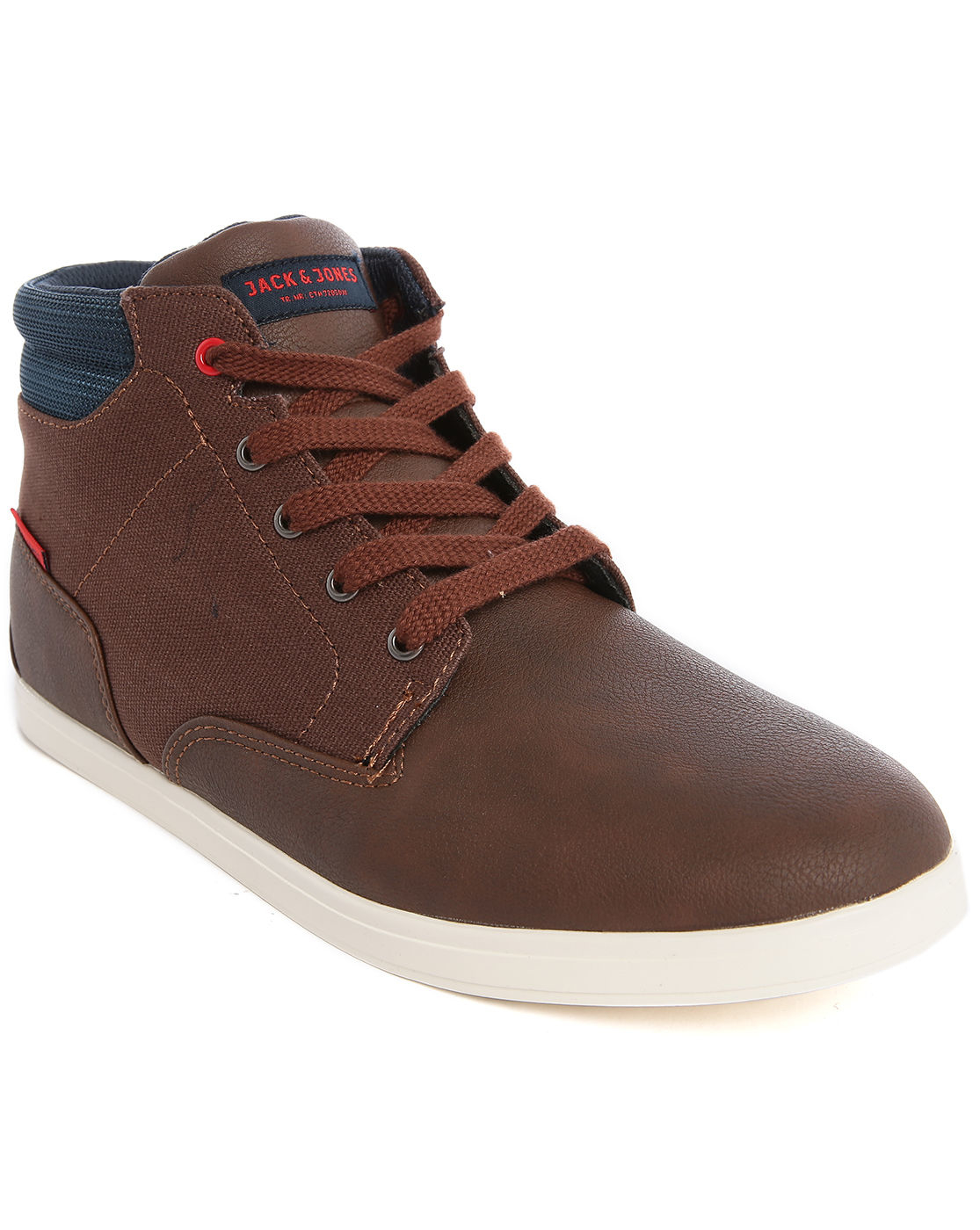 jack jones jjvaspa brown dual fabric high top canvas sneakers for. Black Bedroom Furniture Sets. Home Design Ideas