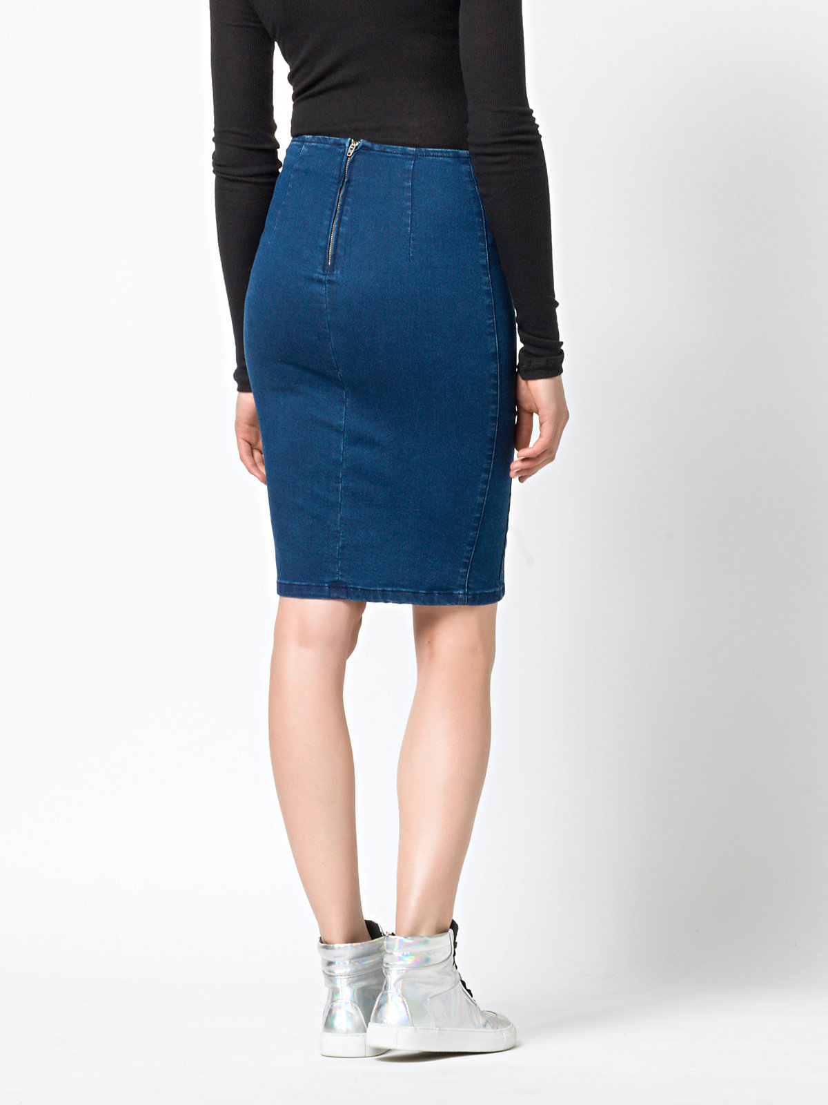 patrizia pepe high waist maxi stretch denim skirt in blue