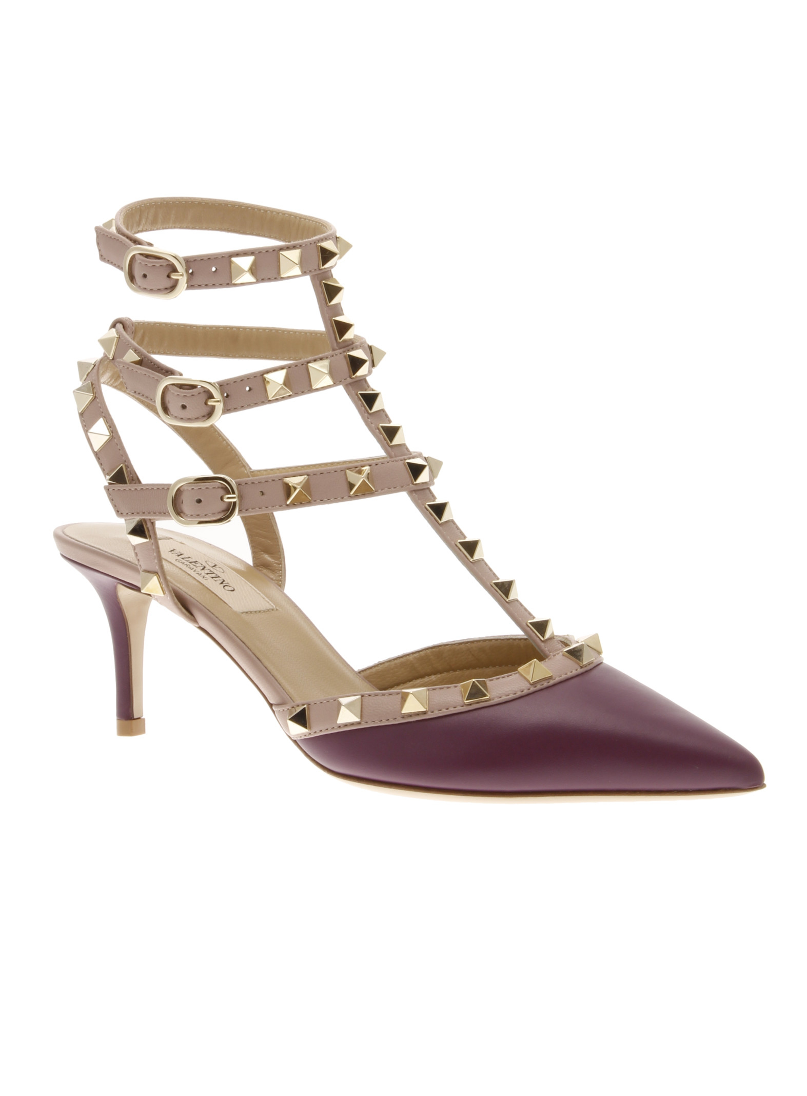 valentino rockstud leather pump in purple lyst. Black Bedroom Furniture Sets. Home Design Ideas