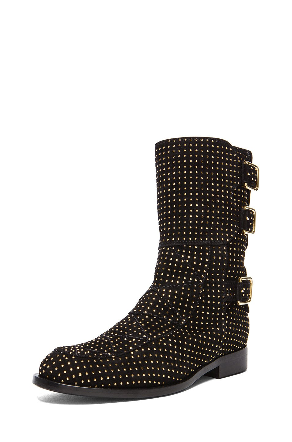 laurence dacade suede studded rick boot in black black