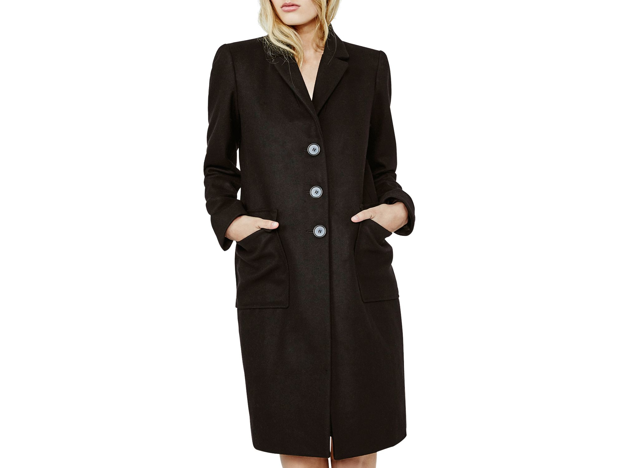 Maje Grakim Wool Coat in Black | Lyst