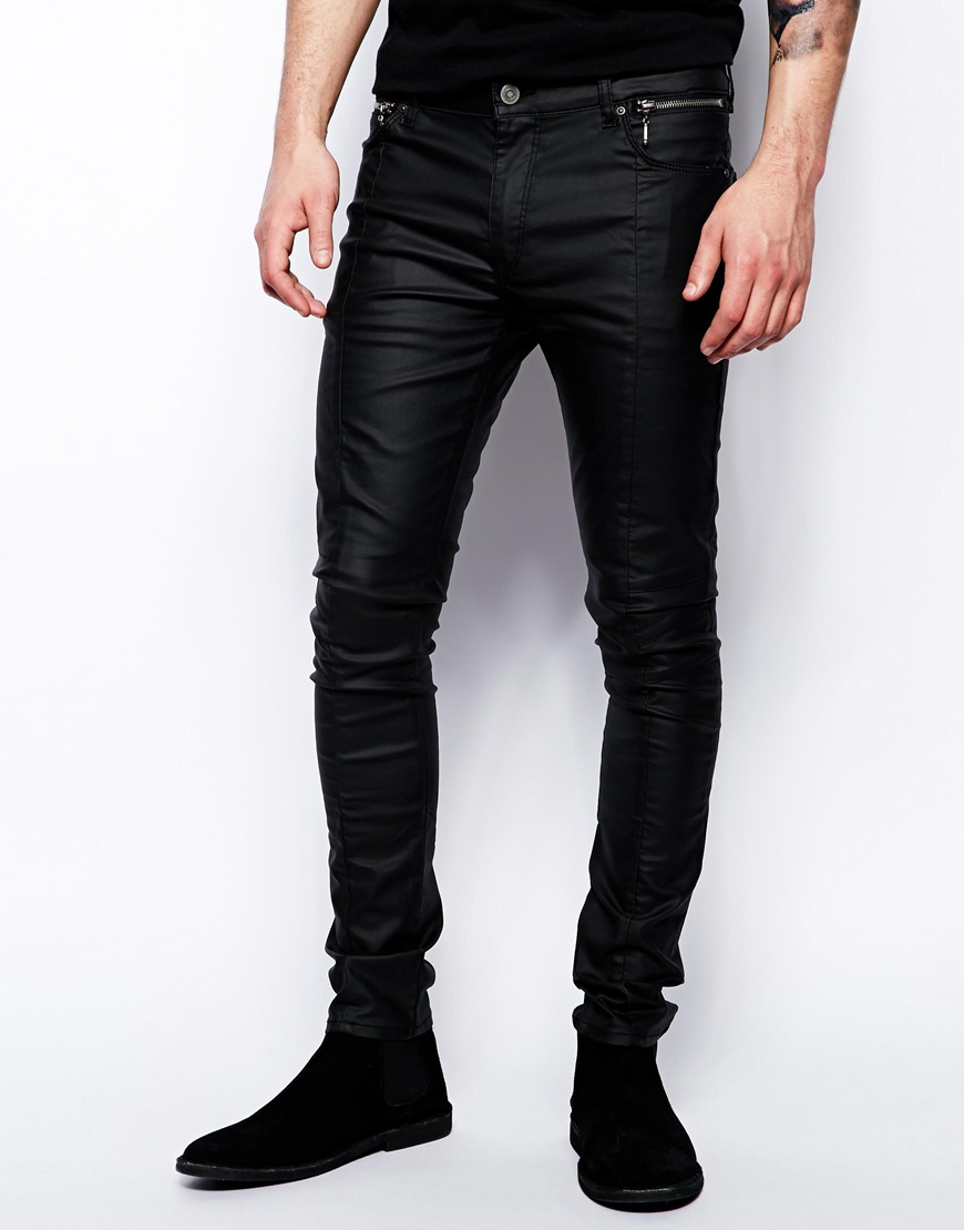 asos super skinny jeans in leather look in black for men. Black Bedroom Furniture Sets. Home Design Ideas
