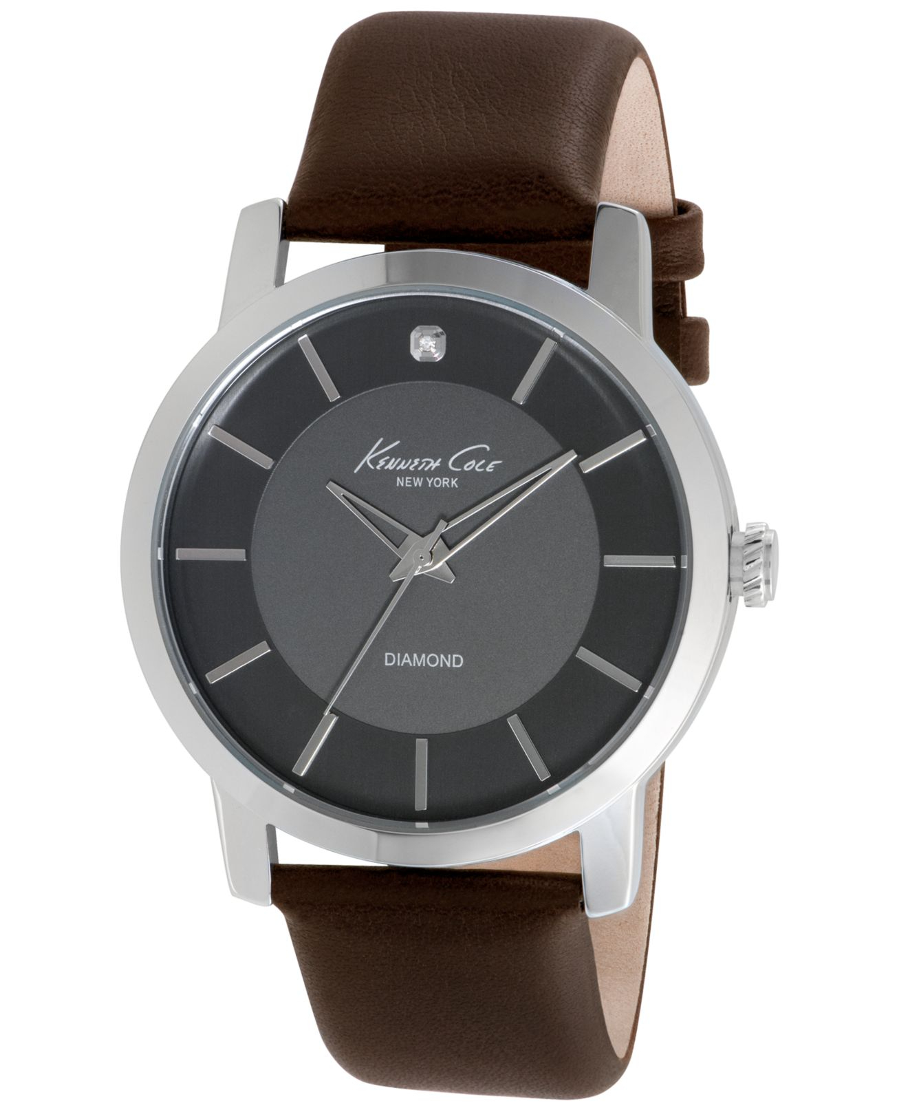 20fd4b63b2f Lyst - Kenneth Cole Men s Diamond Accent Brown Leather Strap Watch ...