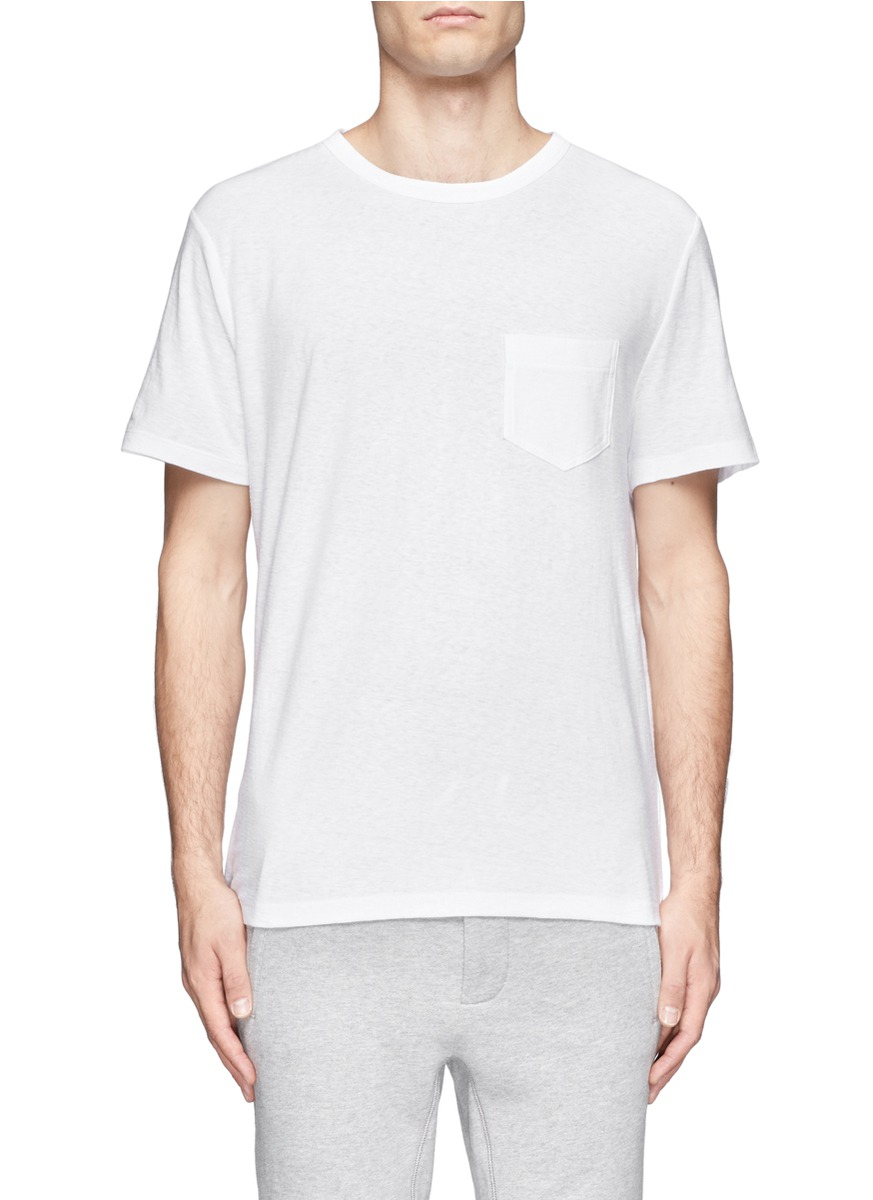 T By Alexander Wang Single Pocket Short Sleeve T Shirt In