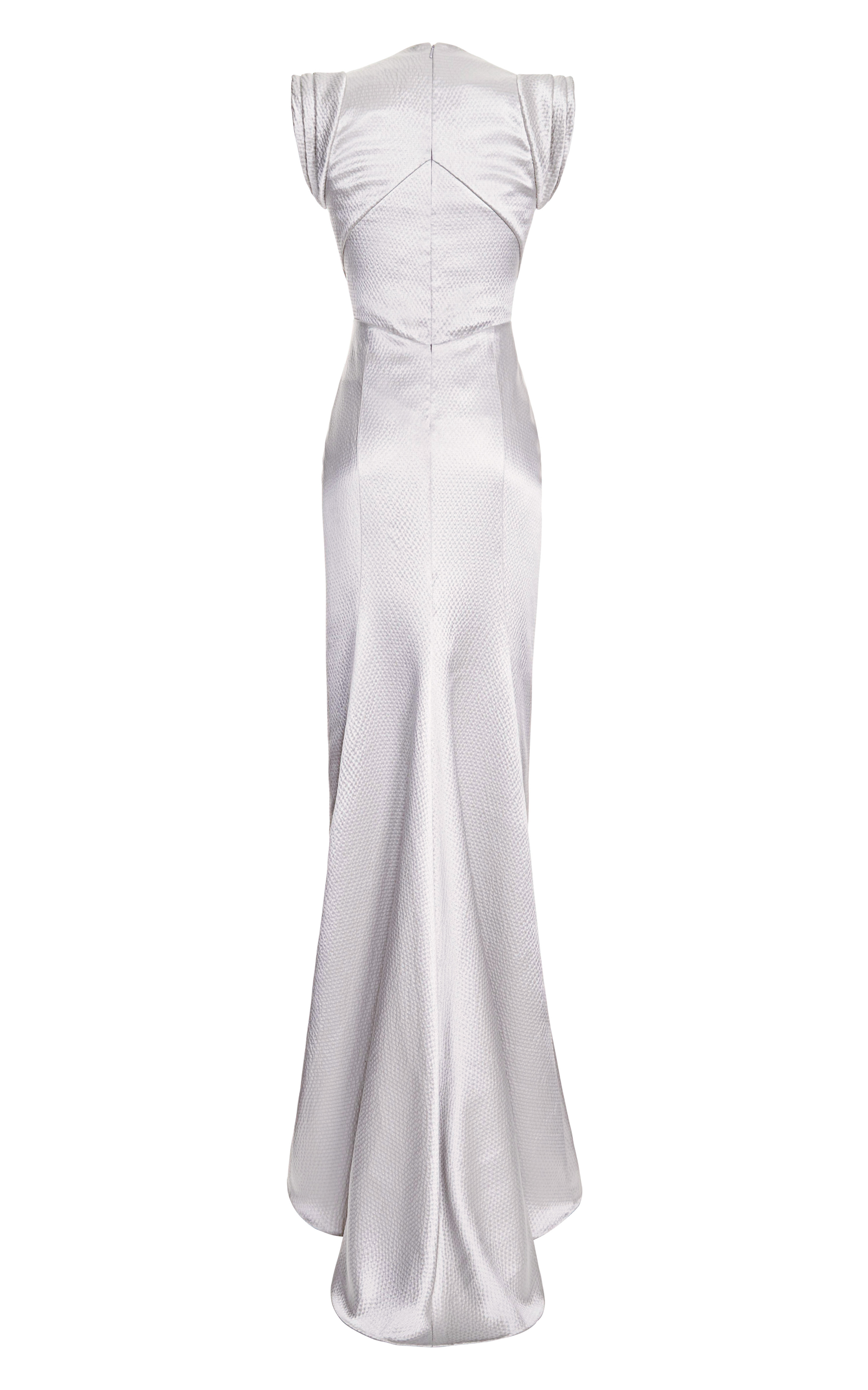 Lyst - J. Mendel Sleeveless Vneck Gown with Pleated Skirt in Gray