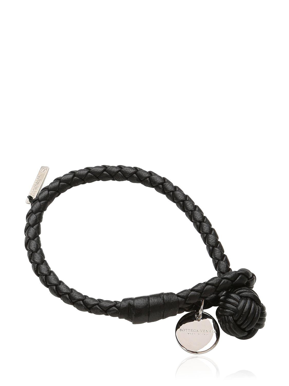 bottega veneta intrecciato leather bracelet in black lyst