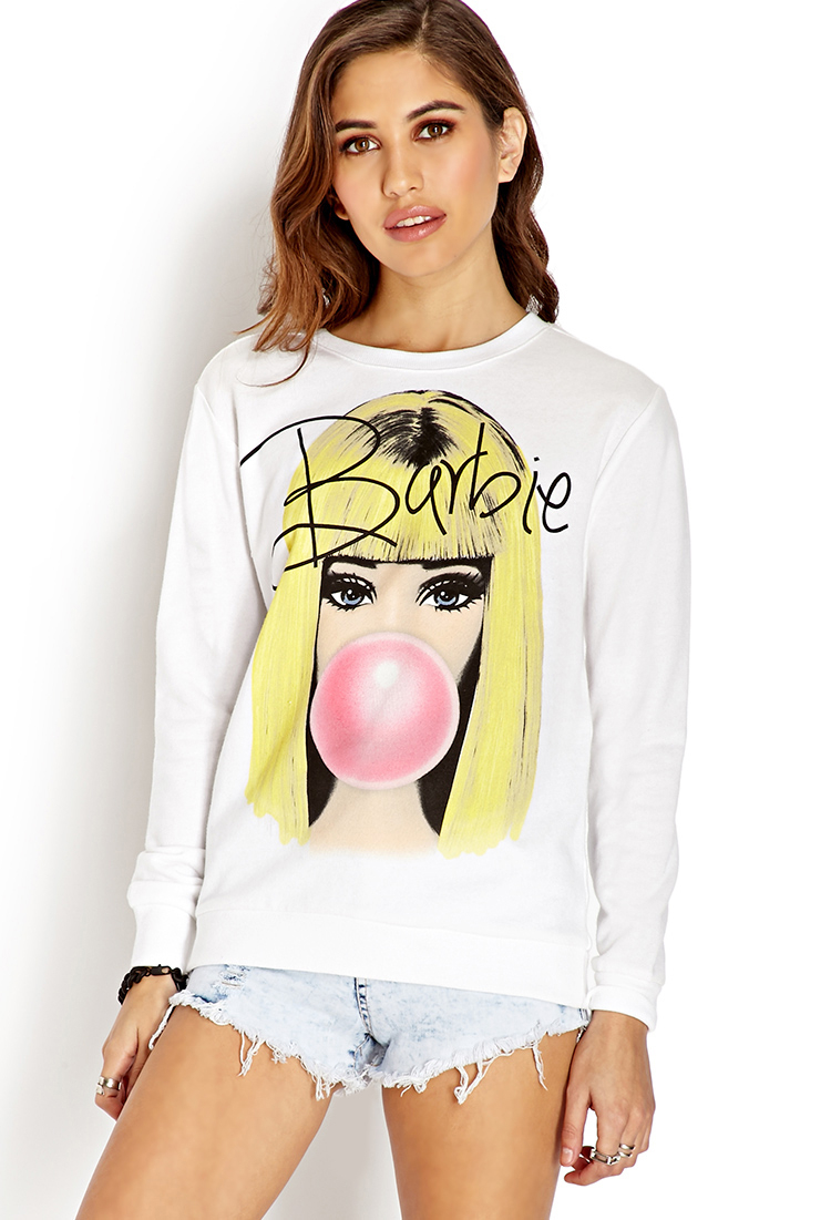 Forever 21 Bubbly Barbie Girl Sweatshirt in White (IVORY ...