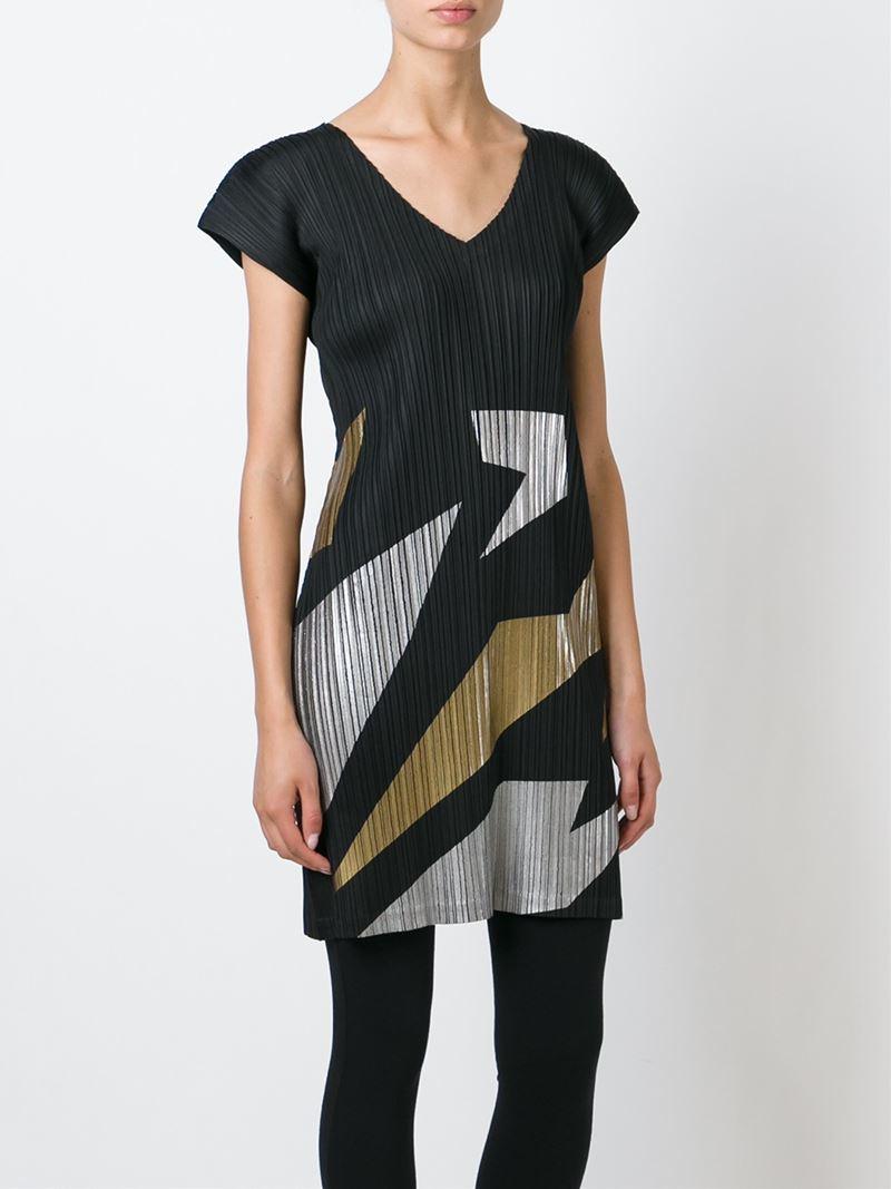 Lyst Pleats Please Issey Miyake Pleated Crepe Dress In Black