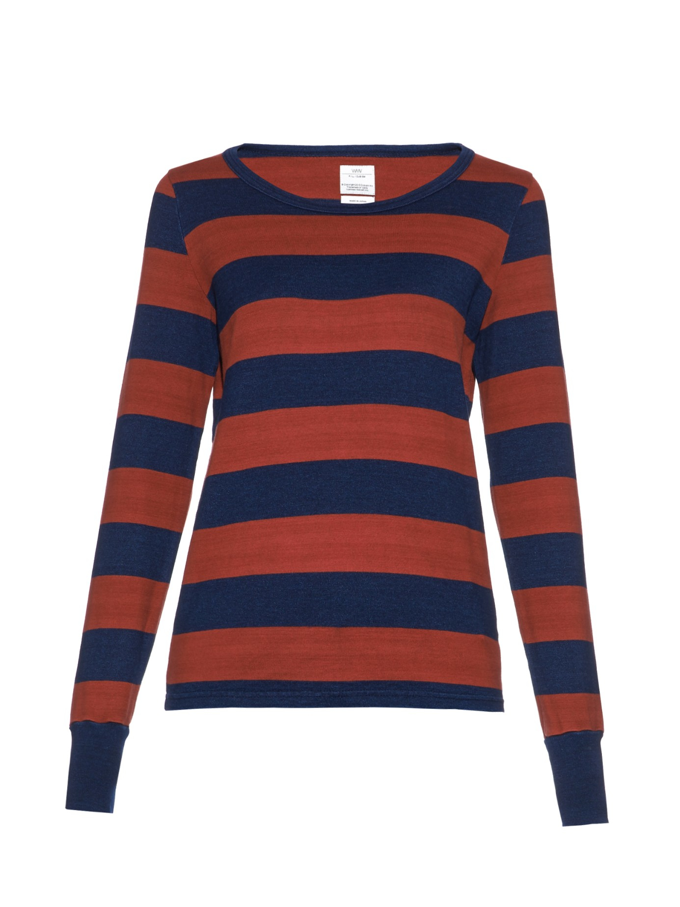 Visvim long sleeved striped t shirt in blue red multi for Blue and white striped long sleeve t shirt