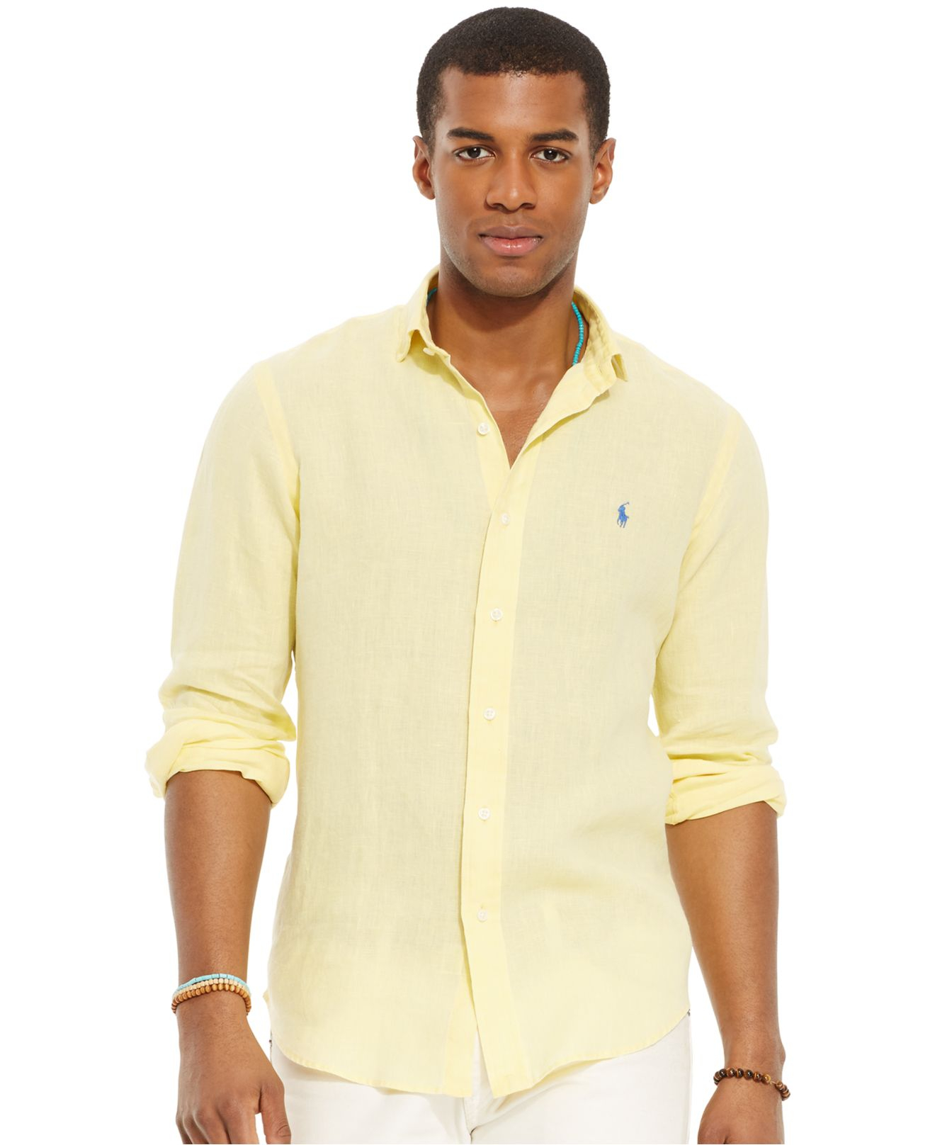 Ralph YellowToffee Shirt Mens Linen Lauren Art OkiXPZu