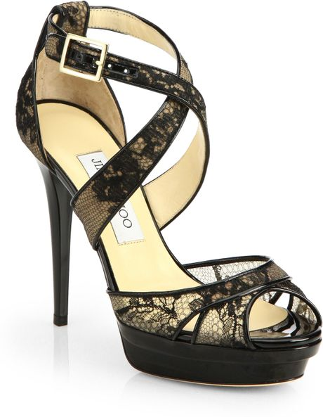 Jimmy Choo Kuki Lace Platform Sandals in Black | Lyst