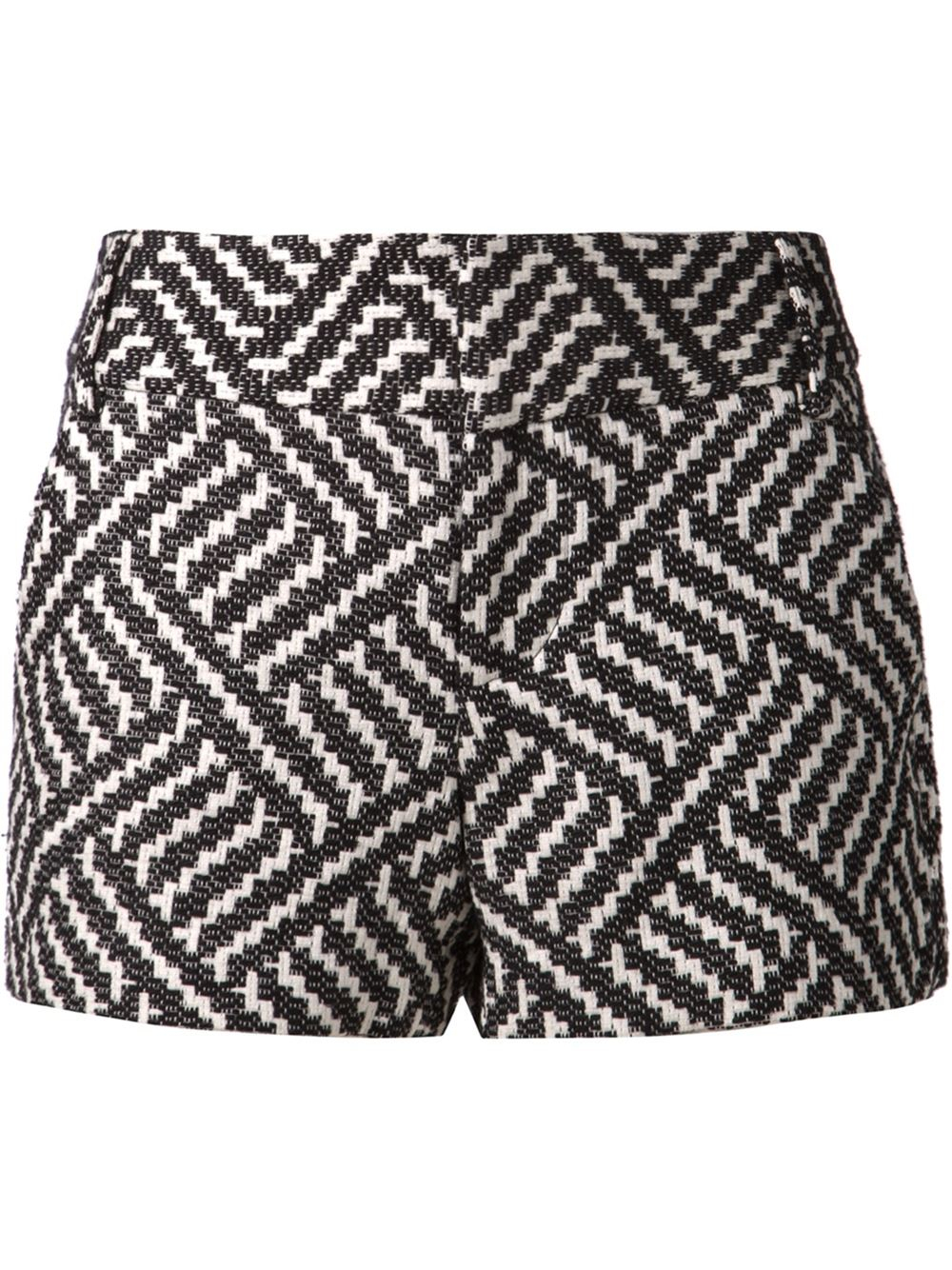 Alice   olivia 'Cady' Patterned Shorts in Black | Lyst
