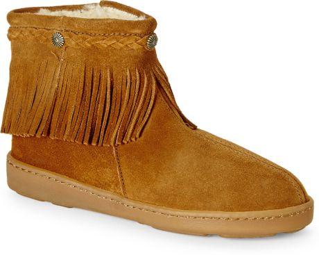 minnetonka dusty brown faux shearling lined fringe boots