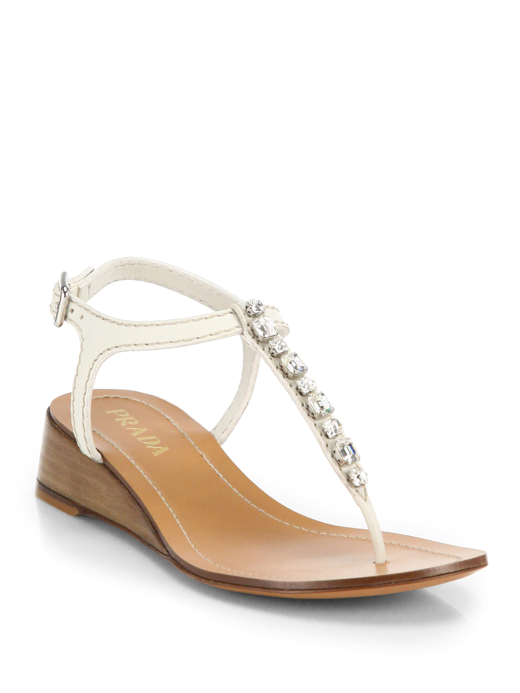 fcb39d2571f5 Lyst - Prada Swarovski Crystal Leather Wedge Thong Sandals in White