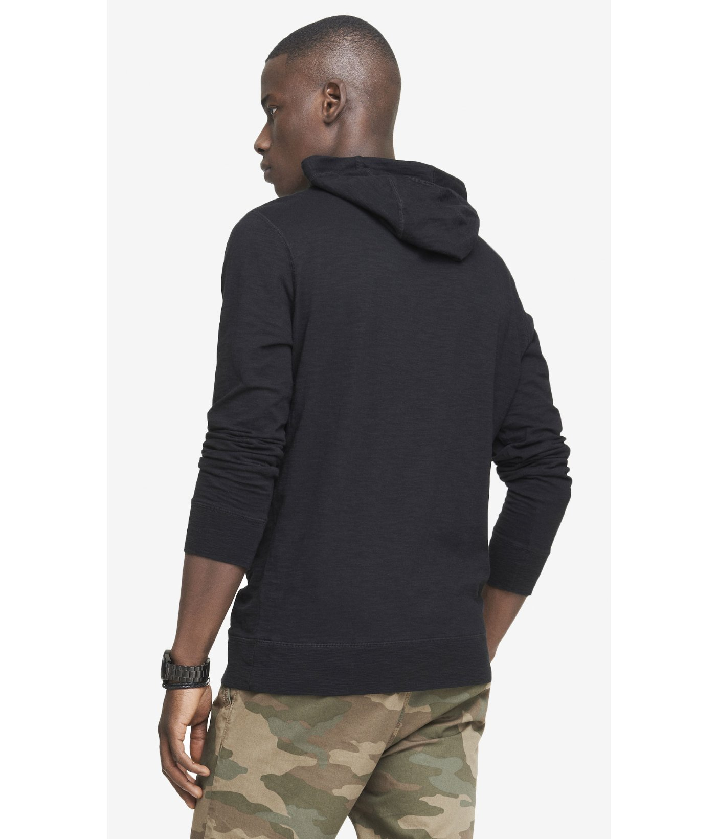 lyst express slub funnel neck graphic hoodie triangulate in black for men. Black Bedroom Furniture Sets. Home Design Ideas