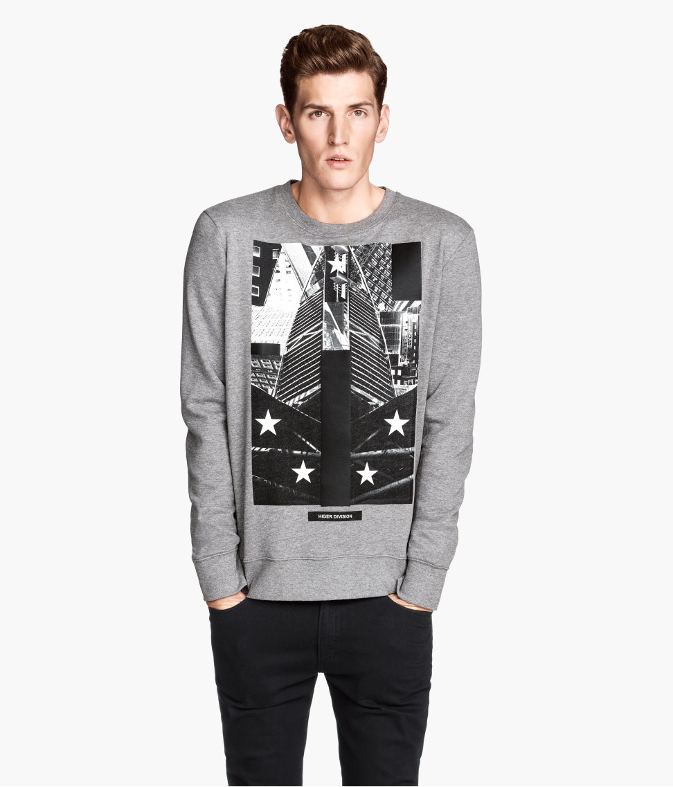 h m sweatshirt with a print in gray for men lyst