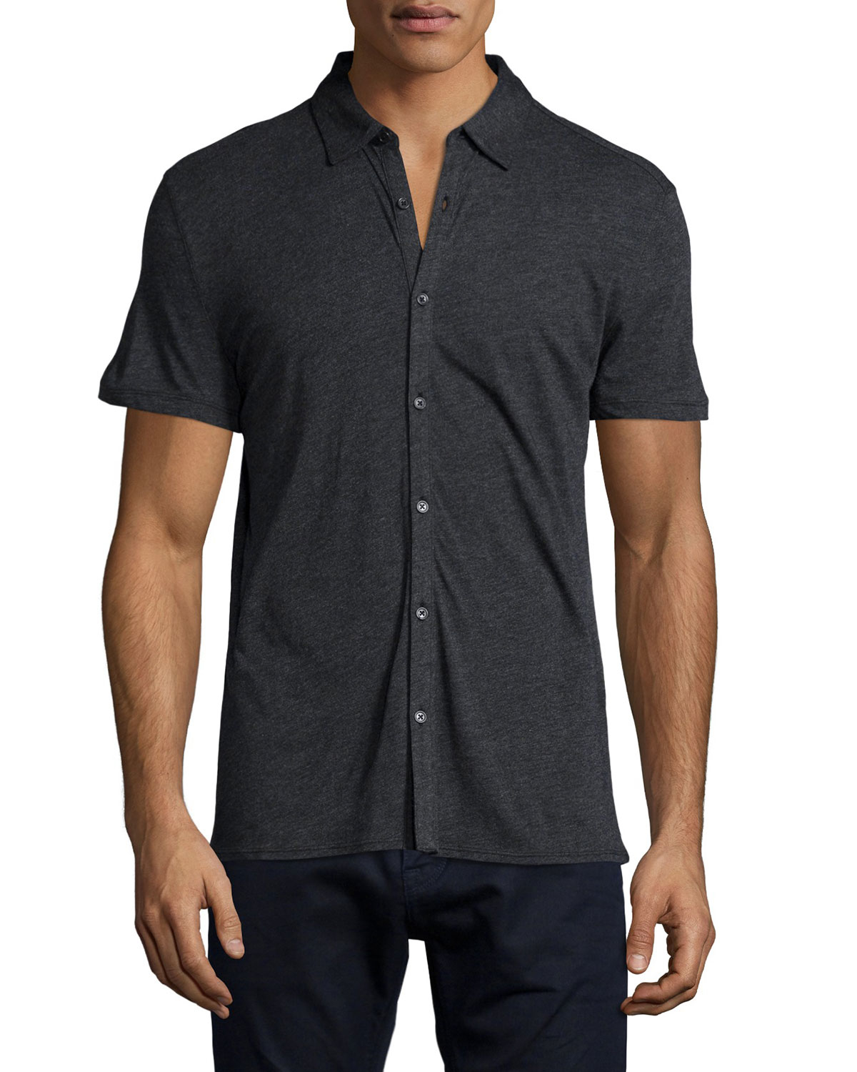 John varvatos Short-sleeve Knit Button-down Shirt in Black for Men ...