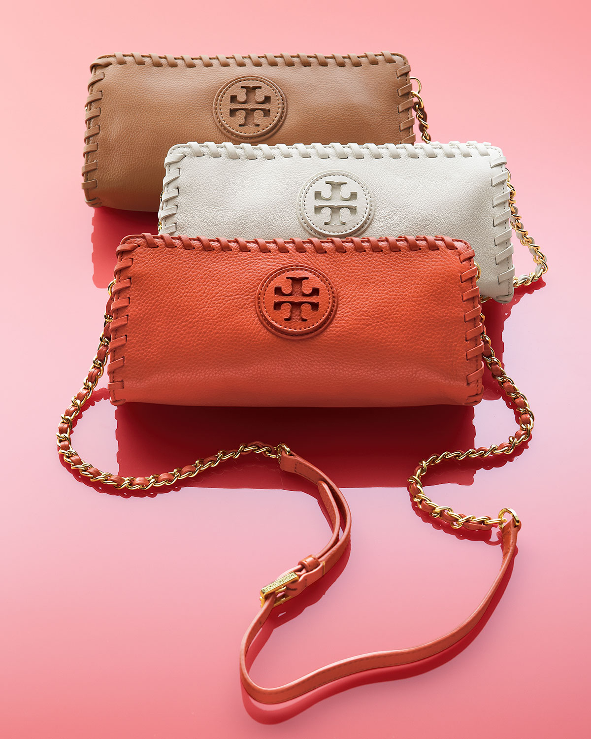 Tory Burch Marion Whipstitch Crossbody Clutch Bag Ivory In