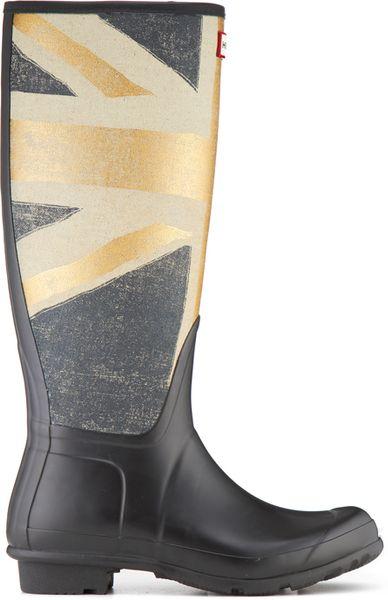 Hunter Original British Rain Boots In Gray For Men Gold