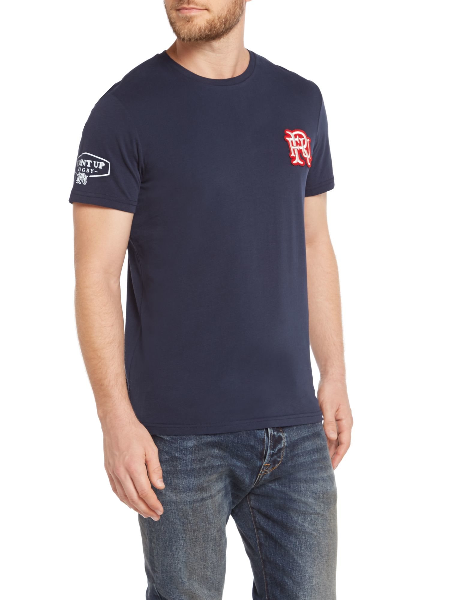Front up rugby osborne logo crew neck t shirts in blue for for Bear river workwear shirts
