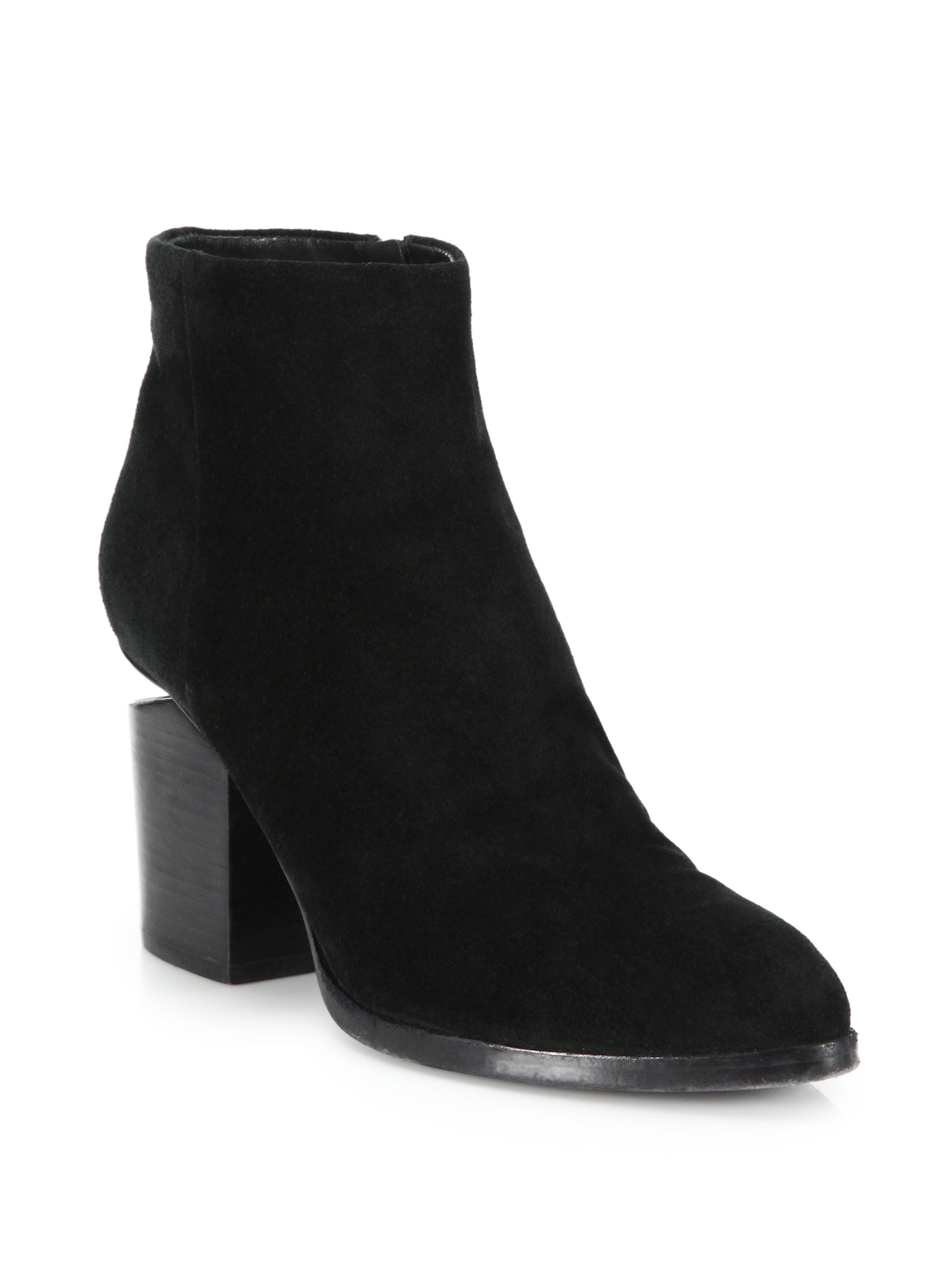 wang gabi cut out suede ankle boots in black lyst