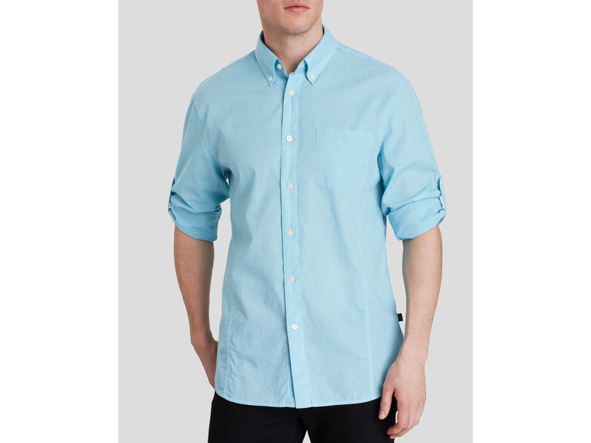 John varvatos star usa roll up sleeve button down shirt for How to roll up sleeves on women s dress shirt