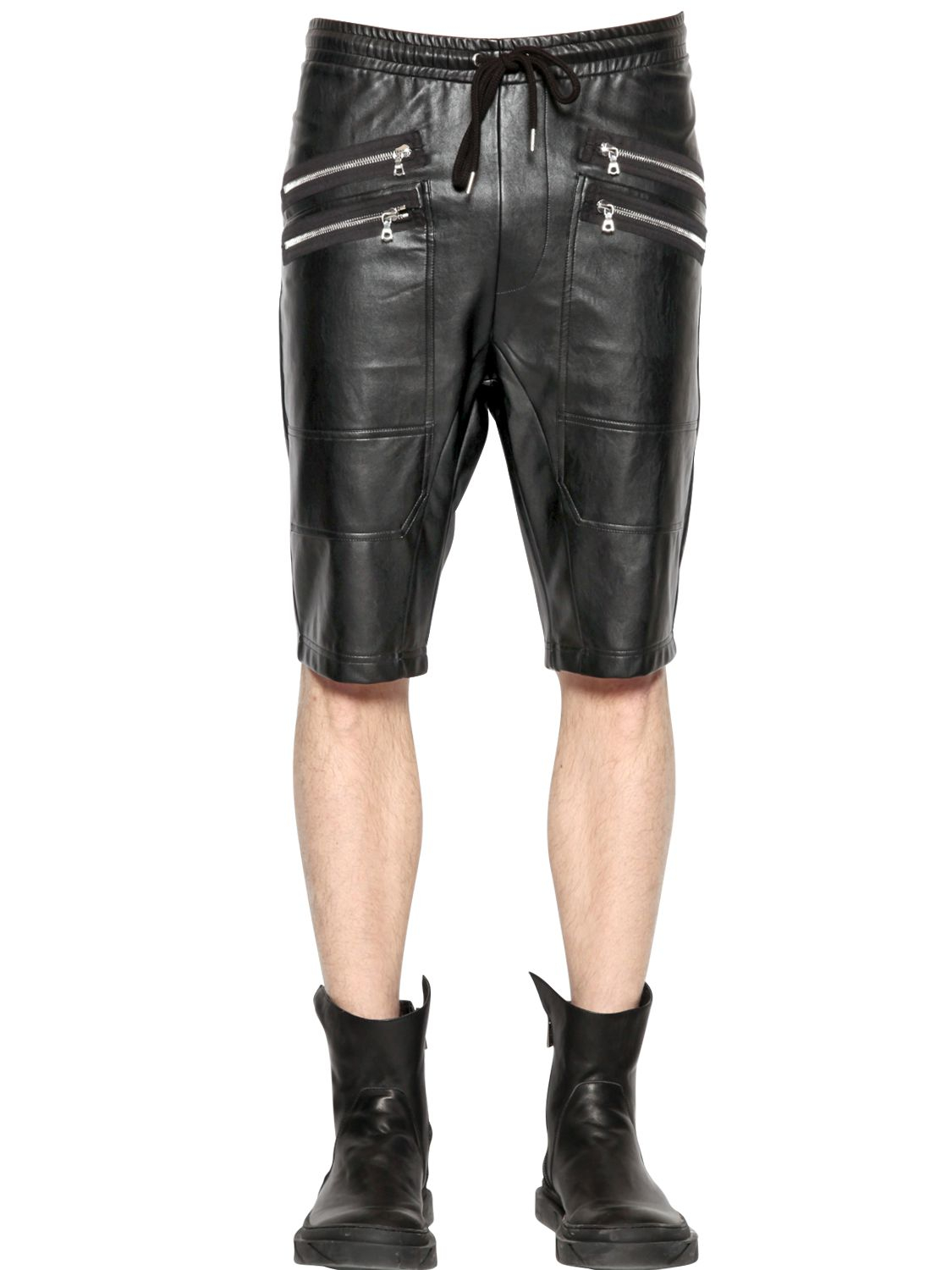 Lyst Markus Lupfer Zip Faux Leather Shorts In Black For Men